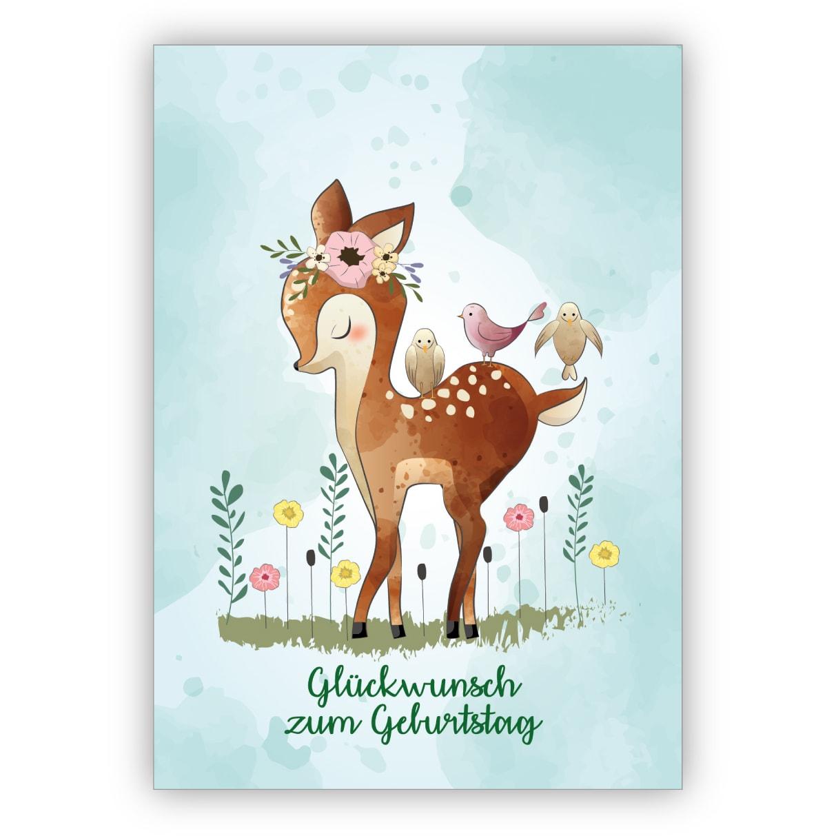 Romantische Geburtstagskarte Mit Bambi & Vögeln: Glückwunsch Zum Geburtstag  Für Freunde & Familie mit Geburtstagskarte Geburtstag