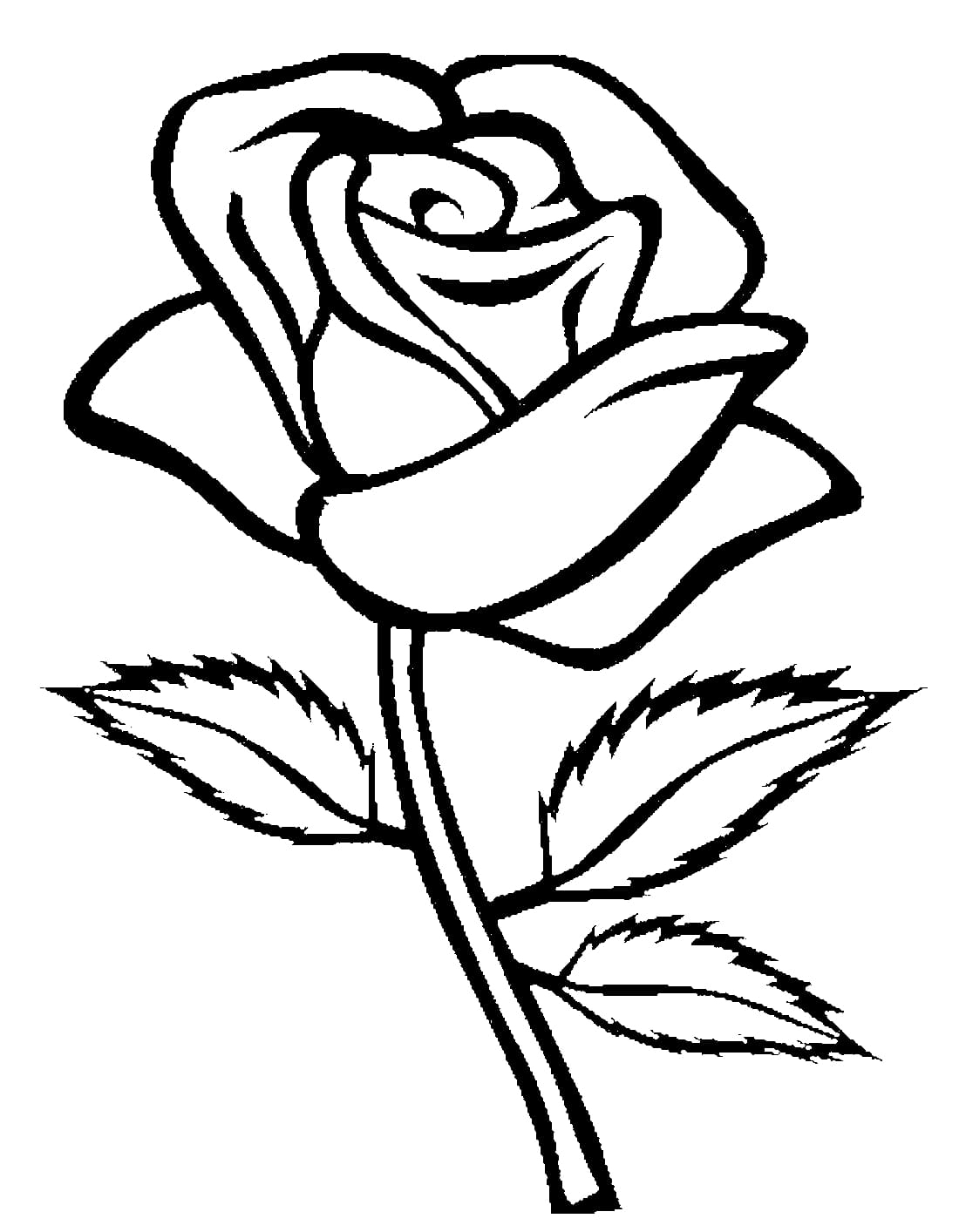 Rose Ausmalbilder. Drucken Sie Die Blumenkönigin Online in Rose Ausmalbild