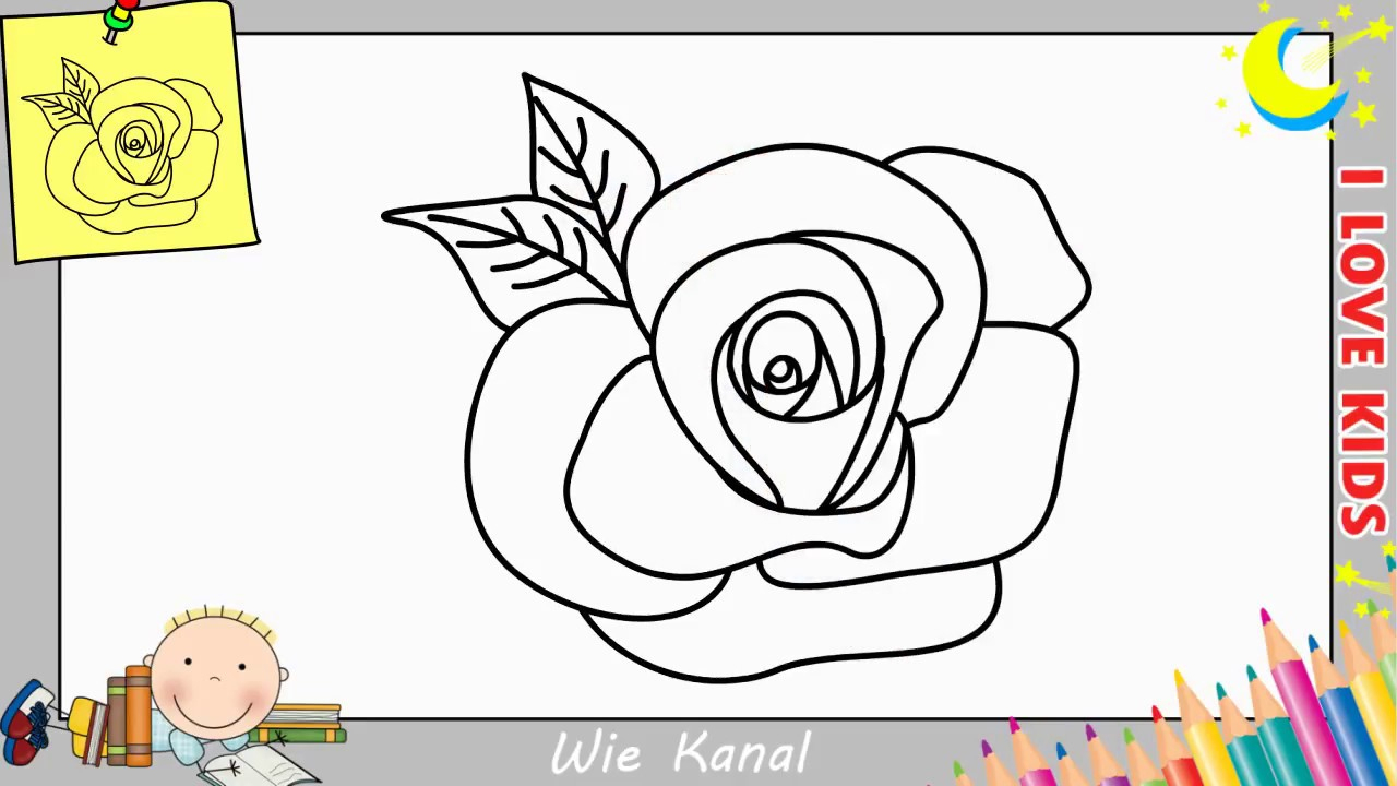 Rose Zeichnen Lernen Einfach Schritt Für Schritt Für Anfänger & Kinder 1 ganzes Rosen Zeichnen Anleitung