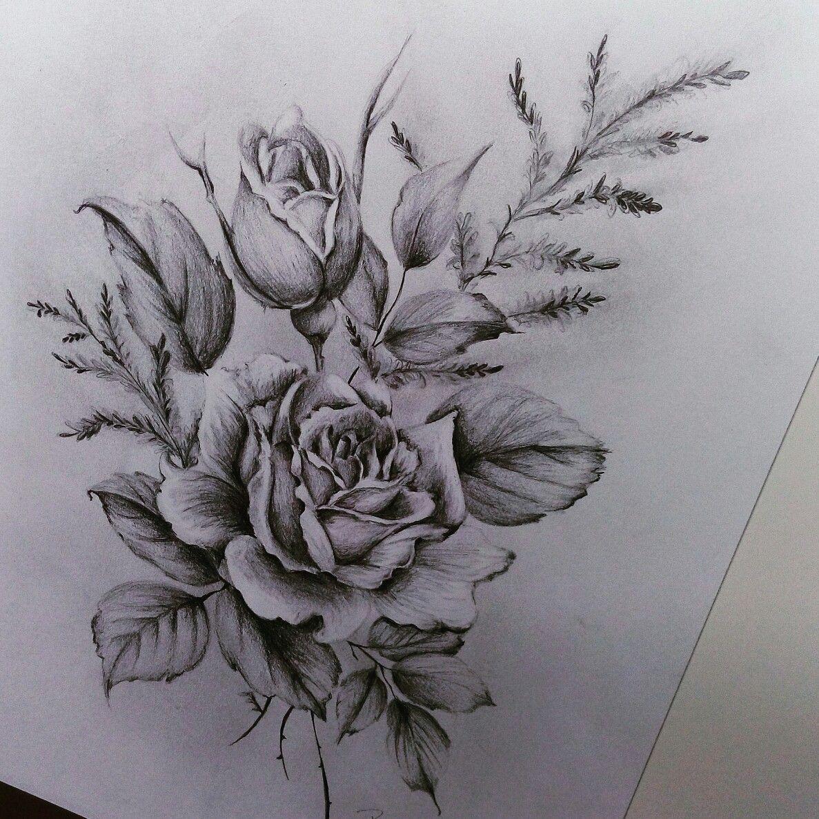 Rose - Zeichnung - Bleistift - Art - Blumen | Rose Zeichnung in Blume Zeichnung Bleistift