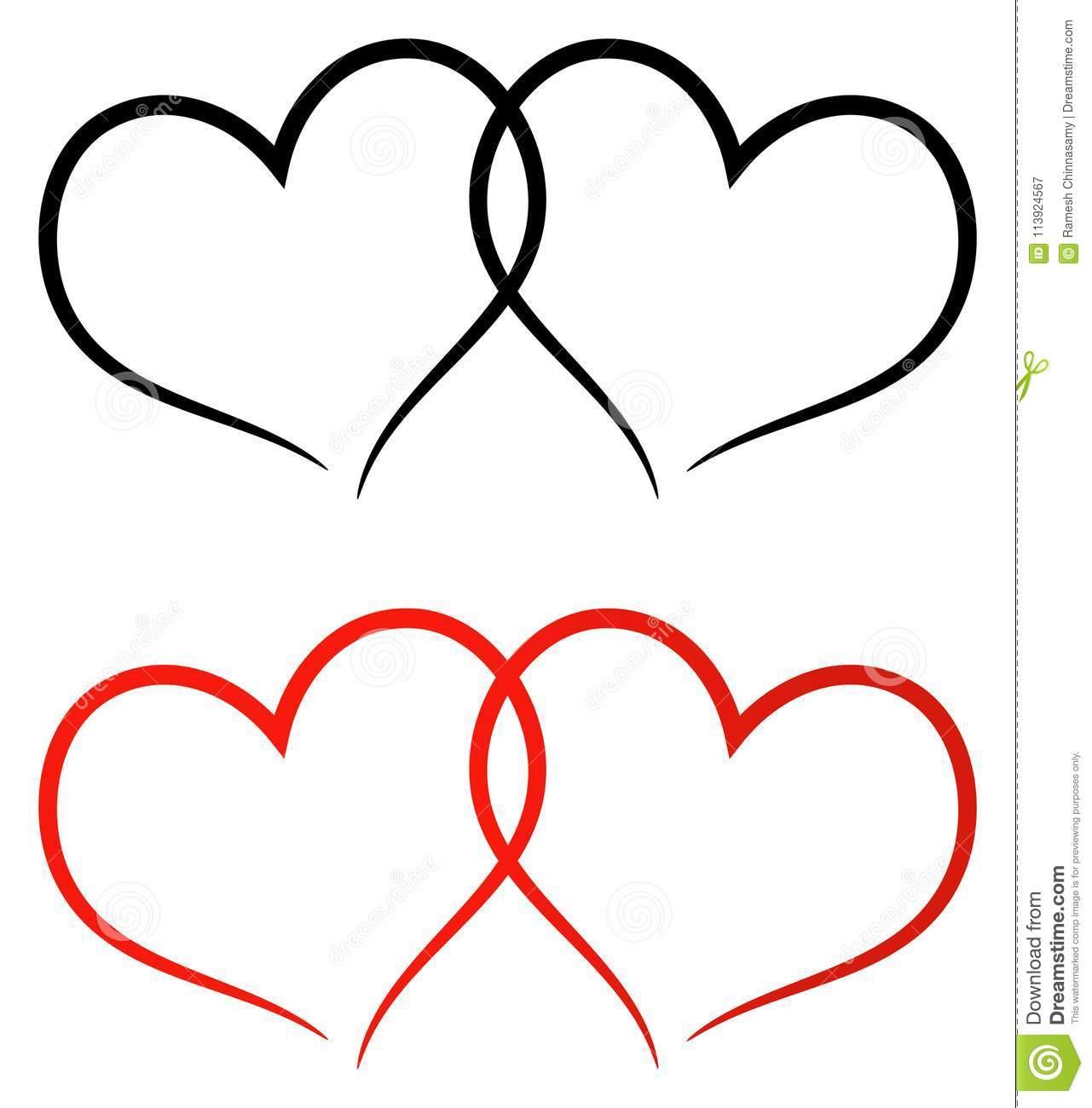 Rot Und Schwärzen Sie Den Clipart Mit Zwei Herzen Vektor in Clipart Herz Kostenlos