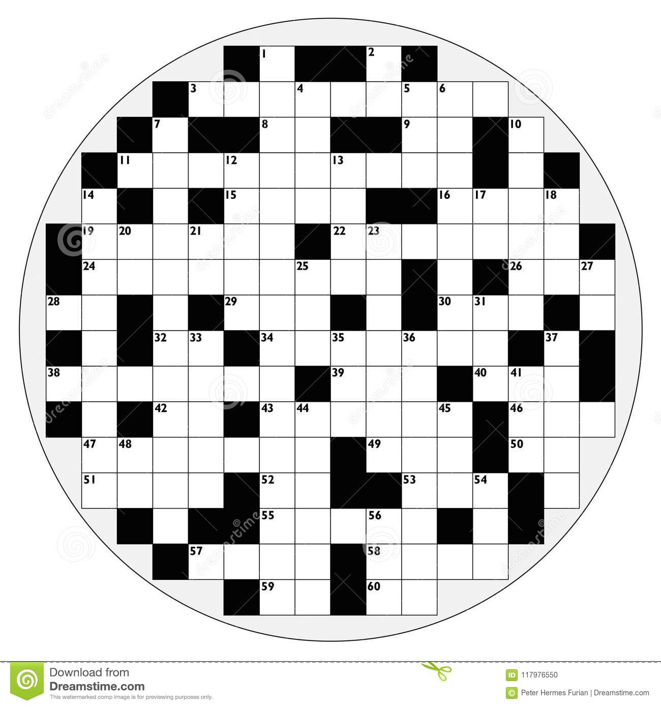 Rundes Kreuzworträtsel-Kreisform-Leeres Muster Vektor mit Kreuzworträtsel Muster