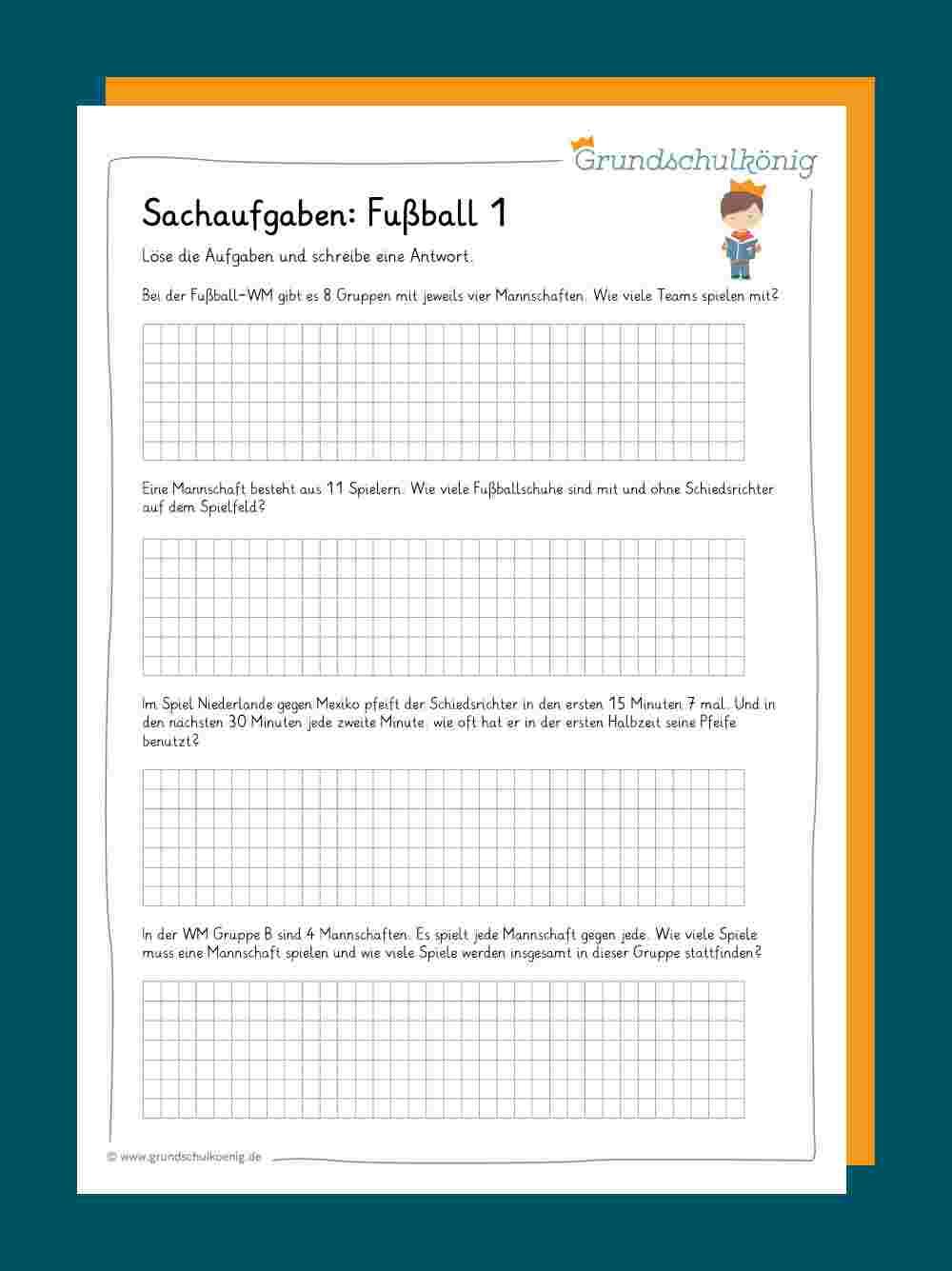 Sachaufgaben / Textaufgaben verwandt mit Rechenaufgaben 4 Klasse Zum Ausdrucken