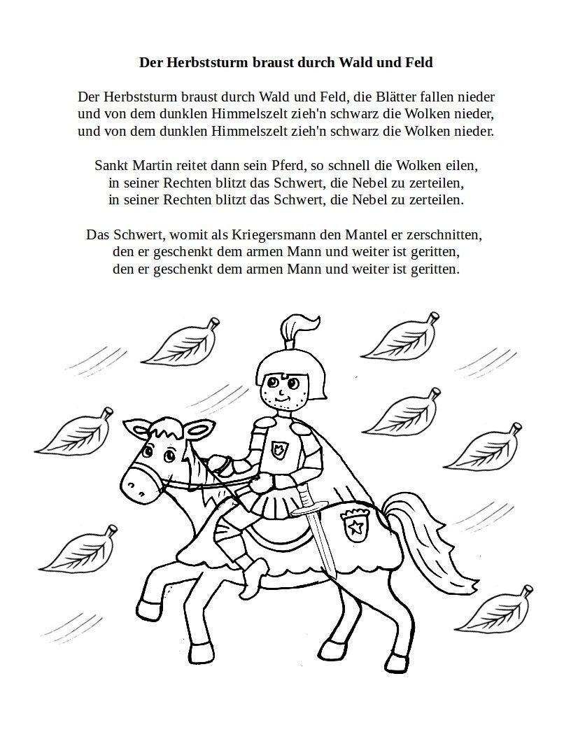 Sankt Martin | Teddylingua (Mit Bildern) | Sankt, Hl Martin mit St Martin Ritt Durch Schnee Und Wind Text