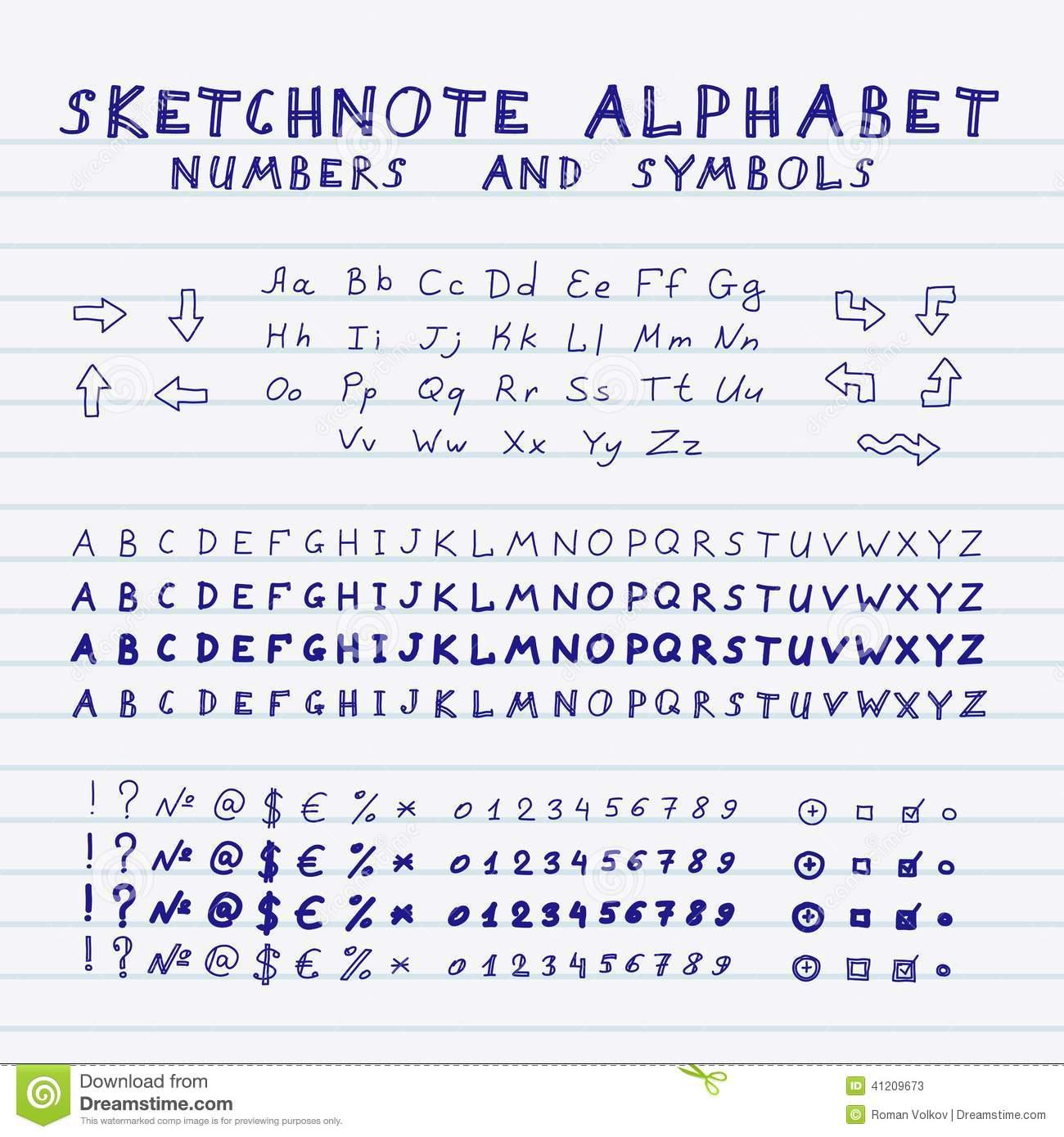 Satz Buchstaben, Zahlen Und Symbole Vektor Abbildung bei Zahlen In Buchstaben