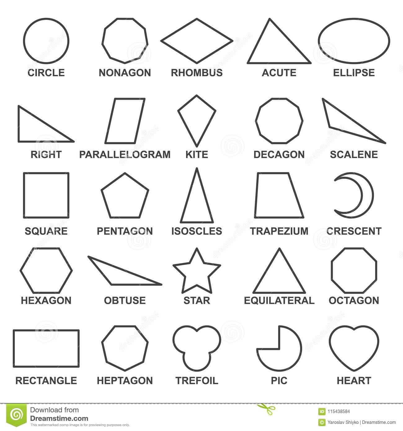 Satz Grundlegende Geometrische Formen Mathematische bestimmt für Mathematische Formen