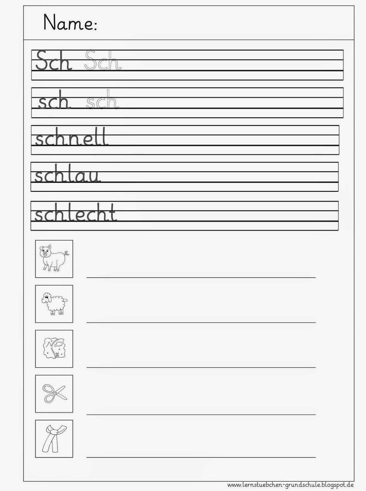 Sch - Sch Schreibblätter (Mit Bildern) | Lesen Lernen ganzes Grundschrift Arbeitsblätter