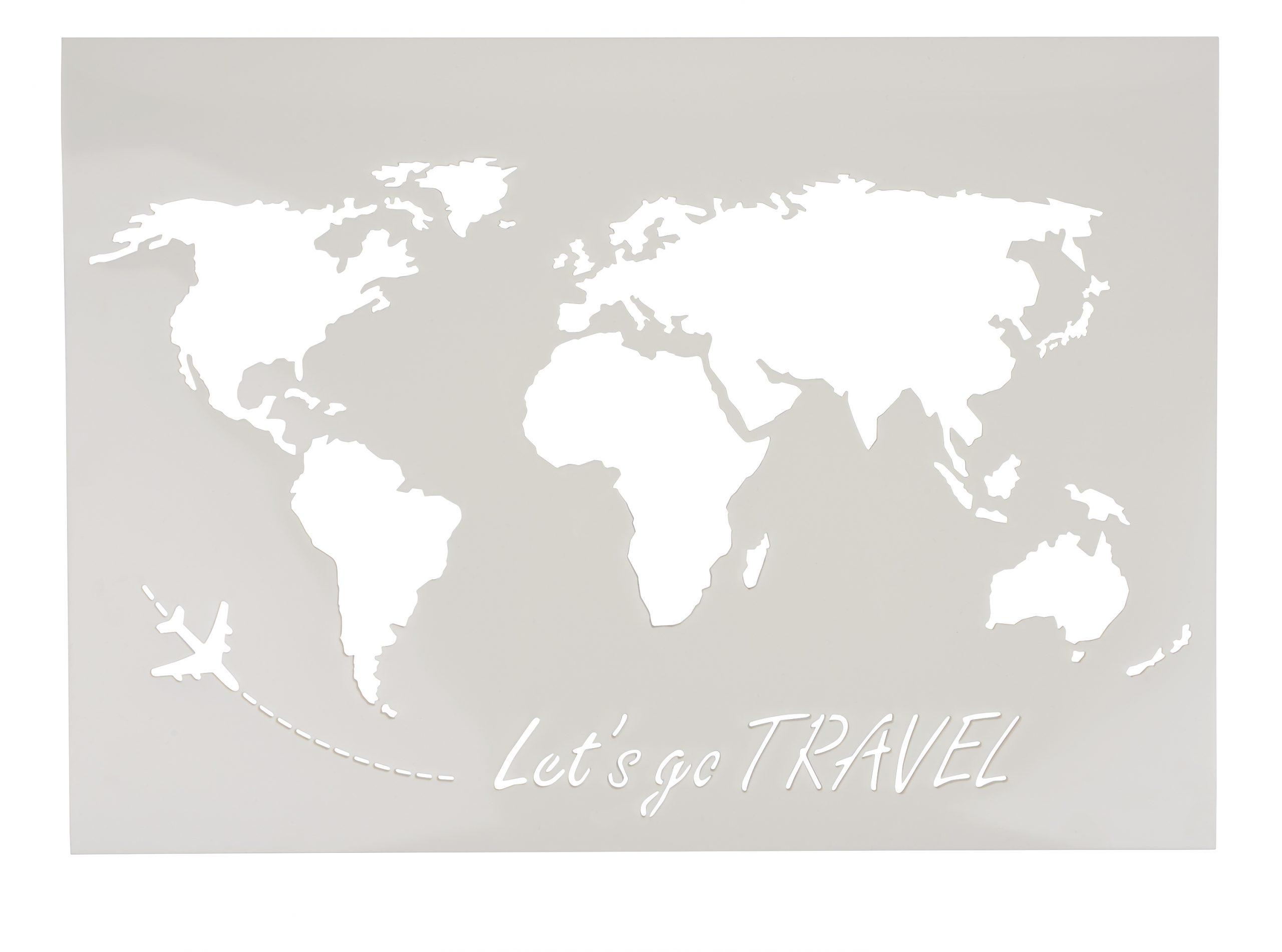 "Schablone ""weltkarte Lets Go Travel"", A3 | Vbs Hobby Bastelshop bei Weltkarte Din A3"