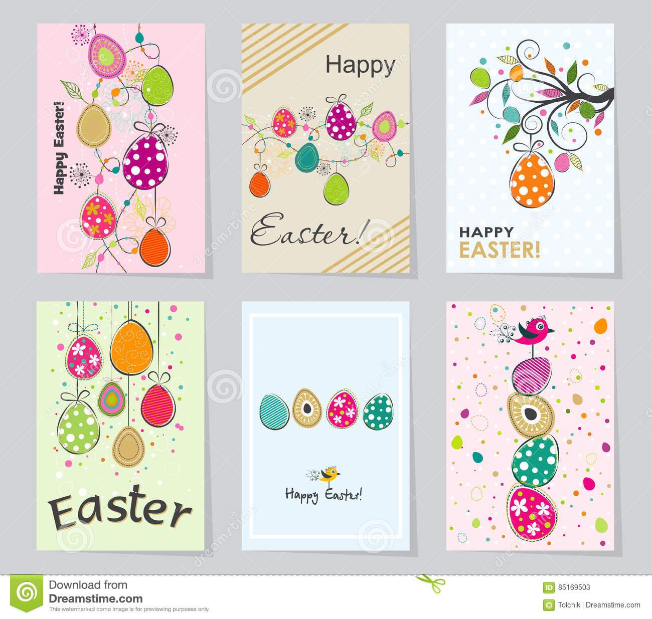 Schablonen-Ostern-Grußkarte, Vektorillustration Vektor verwandt mit Schablonen Ostern
