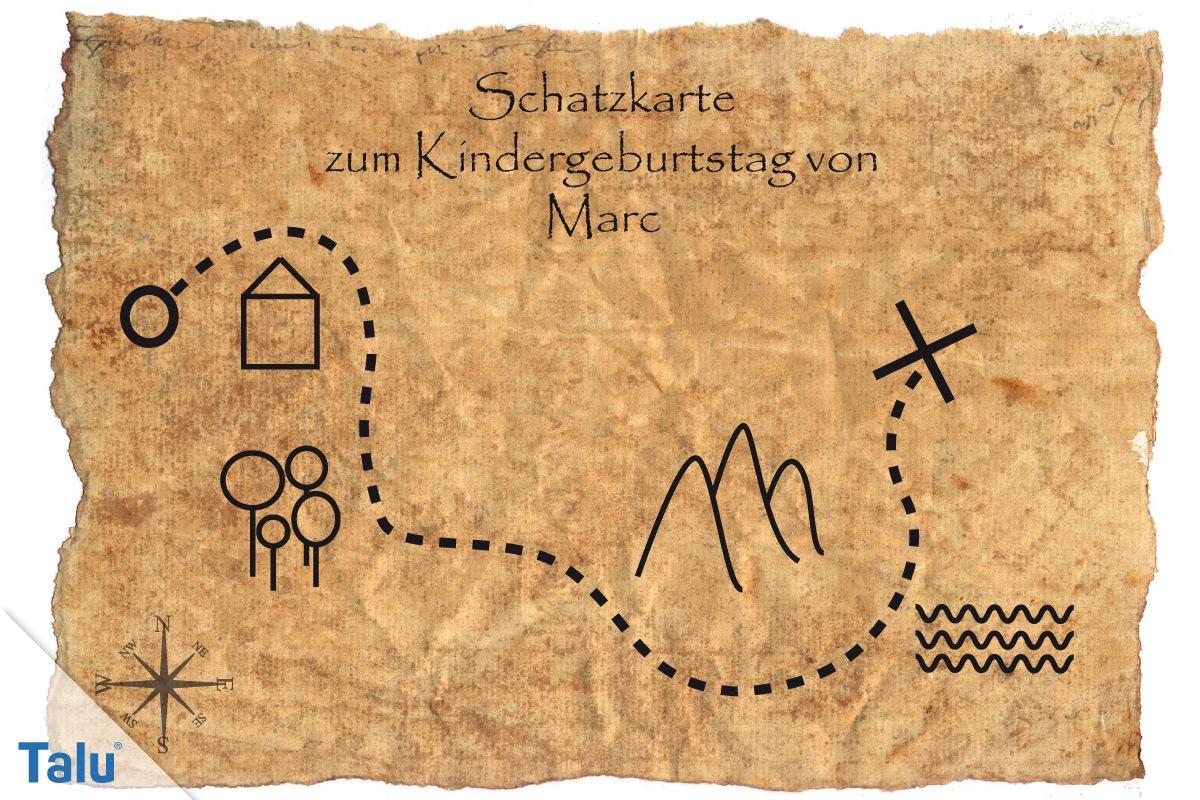 Schatzsuche Zum Kindergeburtstag - Schnitzeljagd Für 4 - 10 für Schatzkarte Vorlage Kostenlos