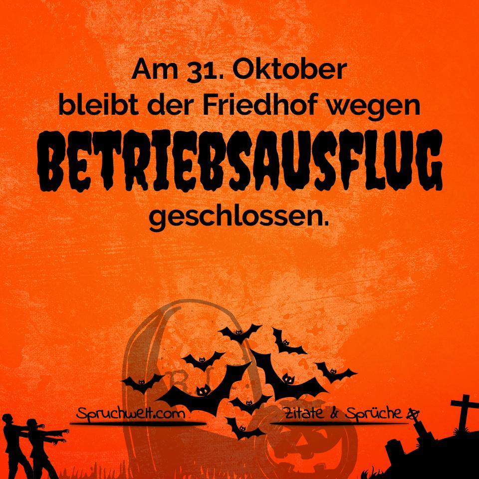 Schaurig Schönes Halloween: Friedhof Wegen Betriebsausflug in Happy Halloween Schriftzug