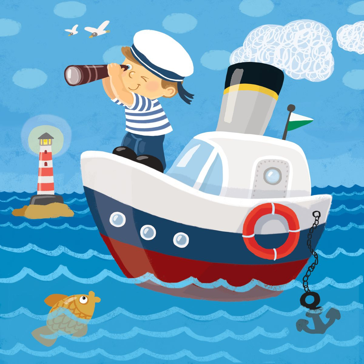 Schiff Ahoi! | Landkind über Schiff Zeichnung