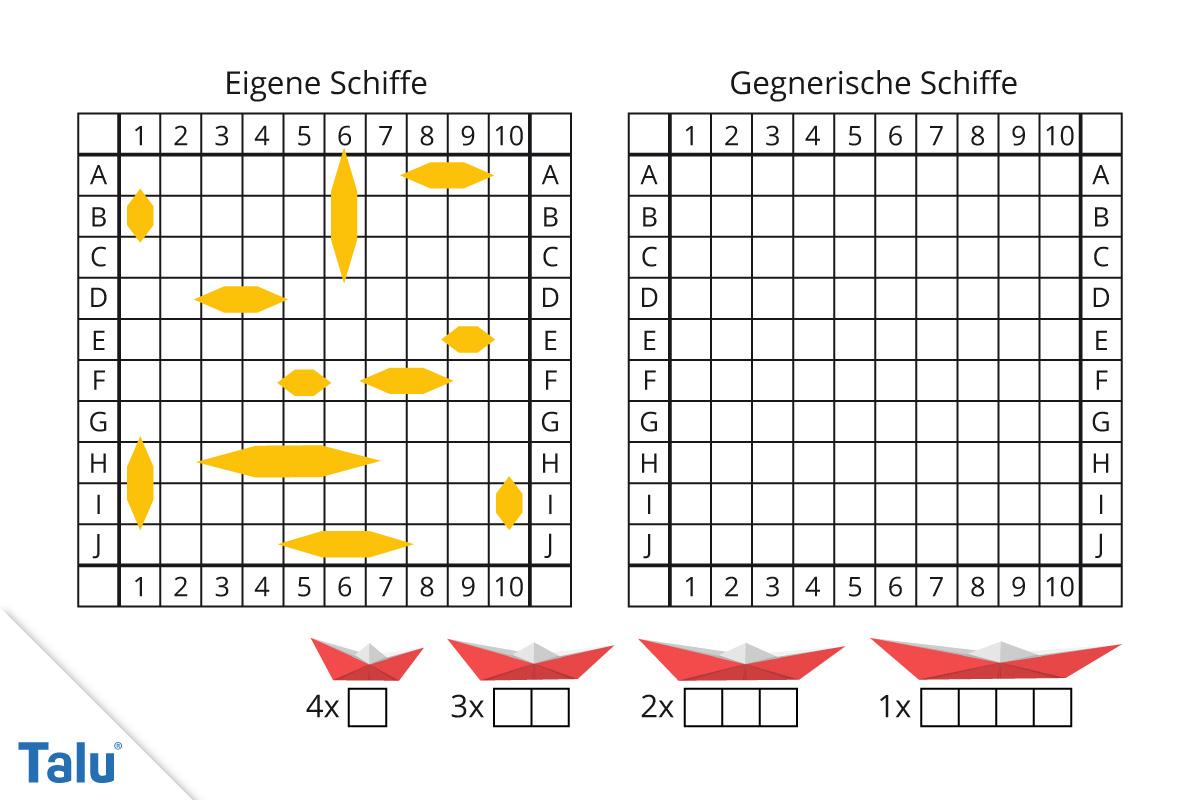 Schiffe Versenken - Vorlage Zum Ausdrucken & Regeln - Talu.de bei Spiel Schiffe Versenken