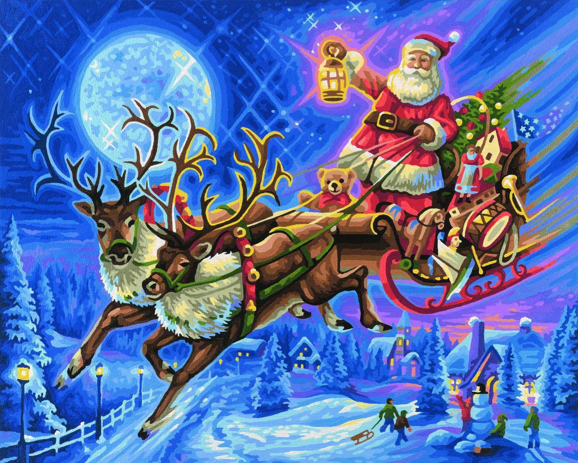 Schipper 609300694 Der Weihnachtsmann Mit Rentierschlitten innen Weihnachtsmann Rentierschlitten