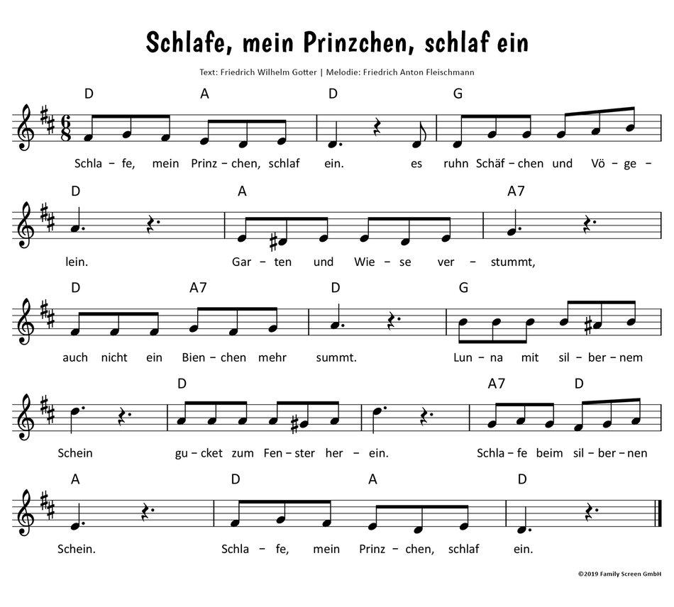 Schlafe, Mein Prinzchen, Schlaf Ein Text, Noten & Video Zum für Lied Schlafe Mein Prinzchen Schlaf Ein