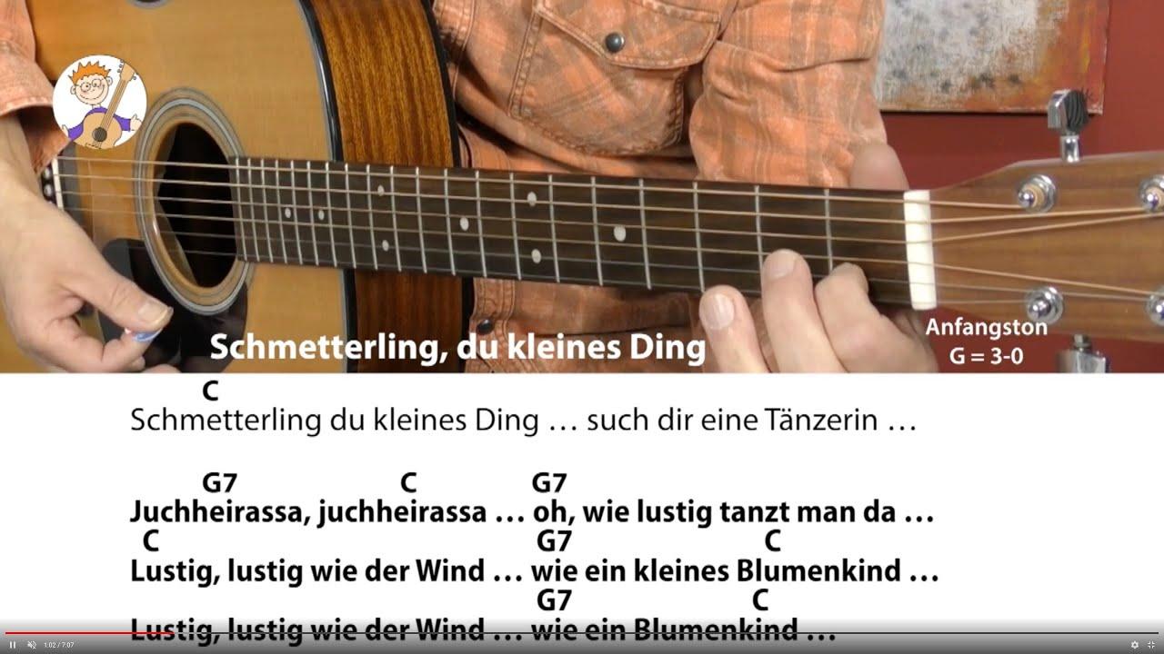Schmetterling Du Kleines Ding - Kinderlied Für Gitarre Mit Text & Akkorden  (Mit Nur Einem Finger!!!) mit Schmetterling Du Kleines Ding Such Dir Eine Tänzerin