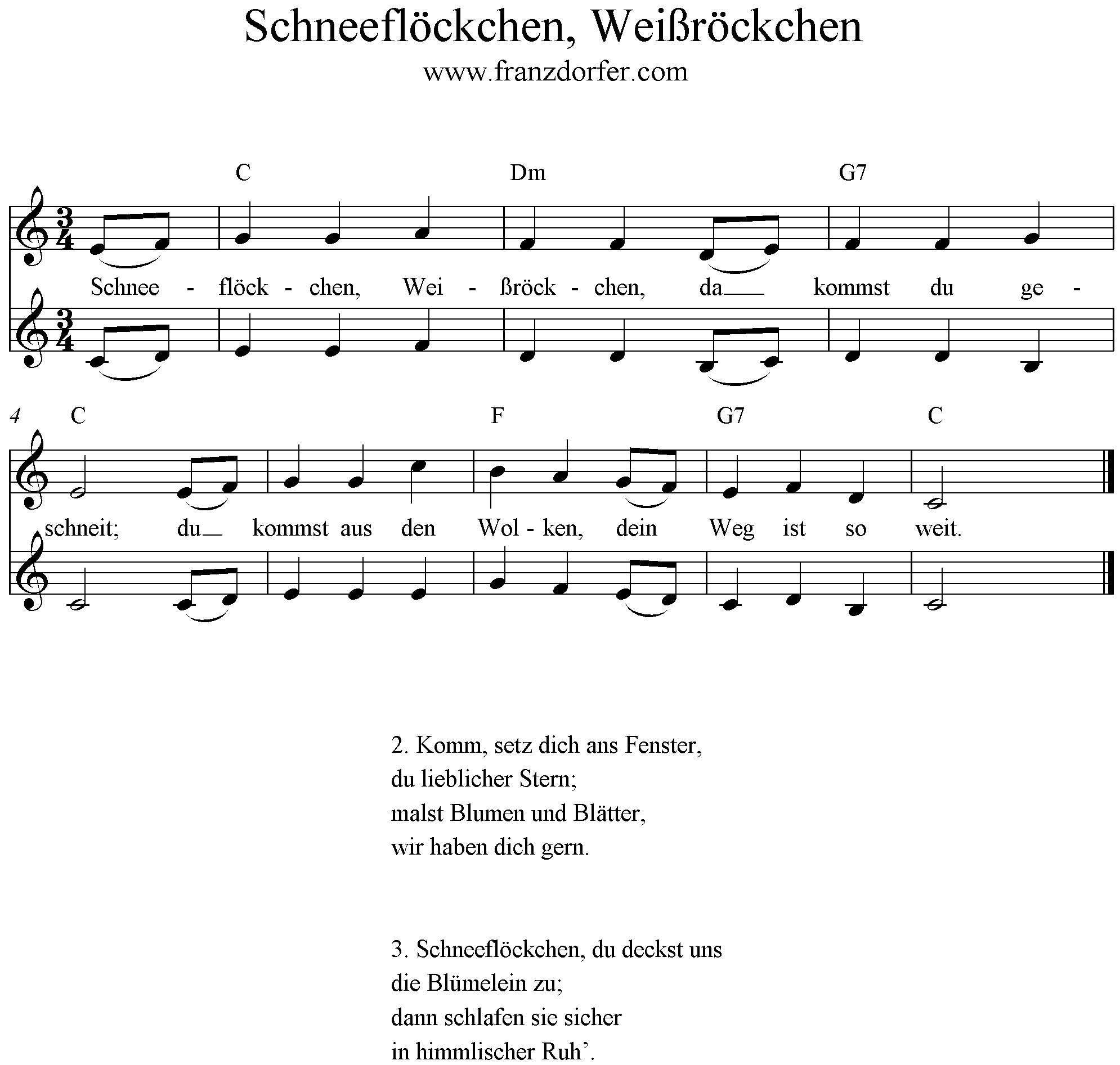 Schneeflöckchen Weißröckchen Liedtext