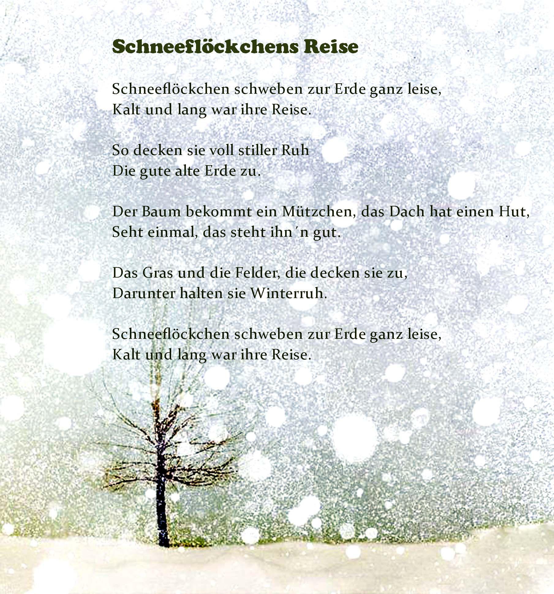 Schneeflöckchens Reise Geschichte Für Die Faltschnitt-Sterne mit Gedicht Winter Grundschule