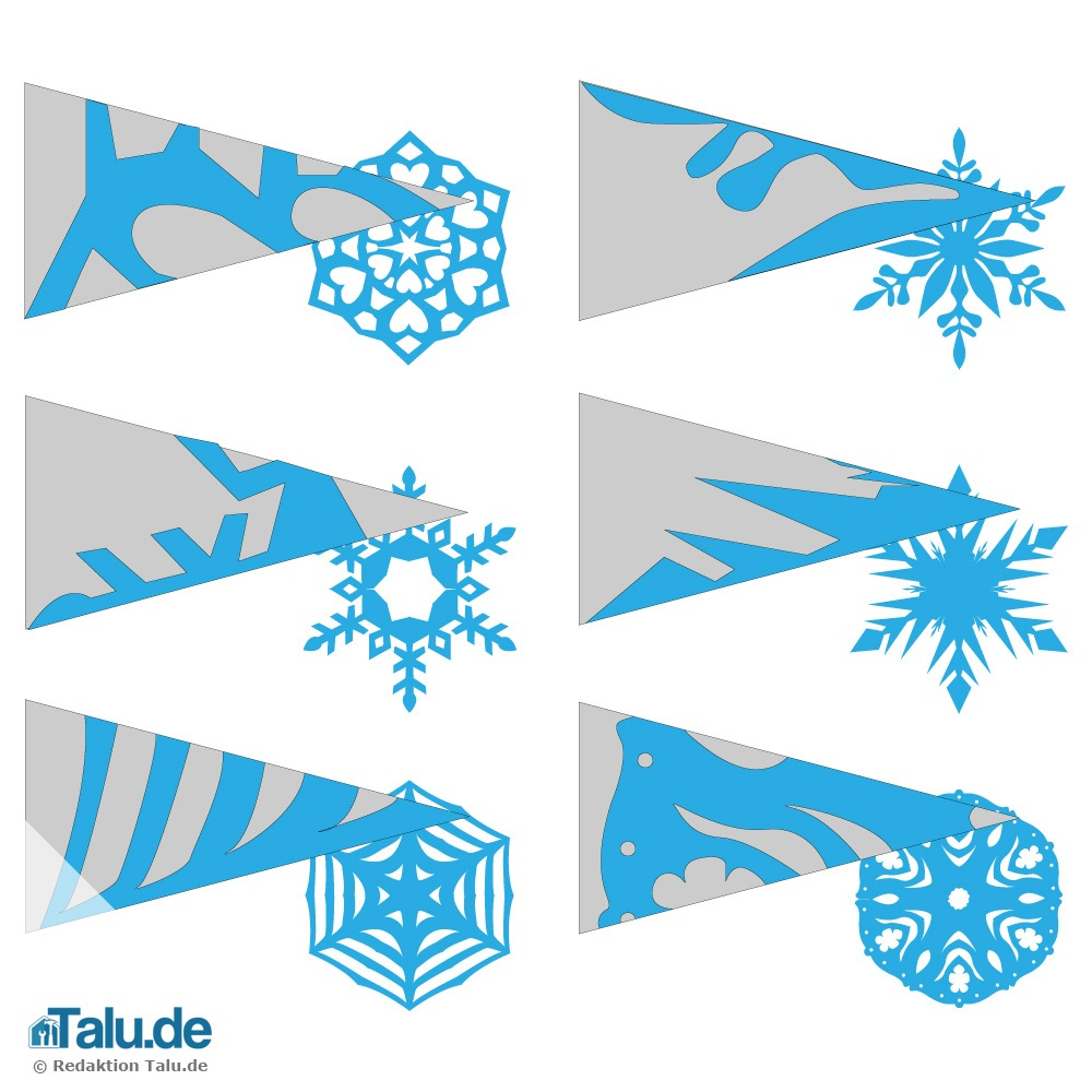 Schneeflocken Aus Papier Basteln - Scherenschnitt-Anleitung in Schneeflocke Vorlage