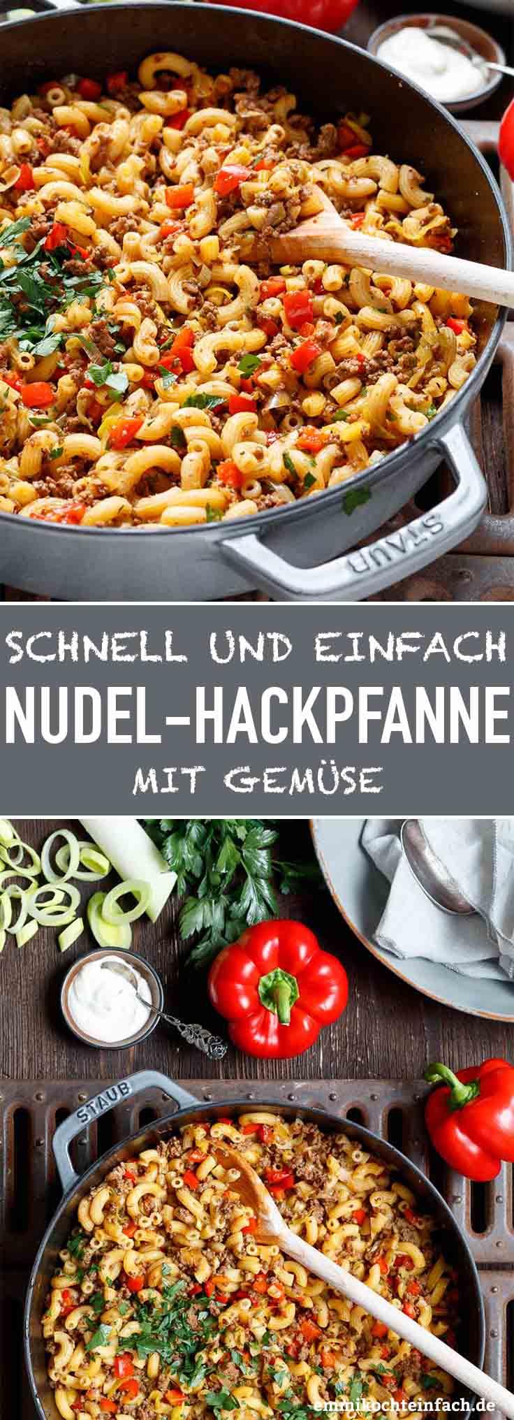 Schnelle Hackpfanne Mit Hörnchennudeln & Gemüse bei Mittagsgerichte Schnell Und Einfach