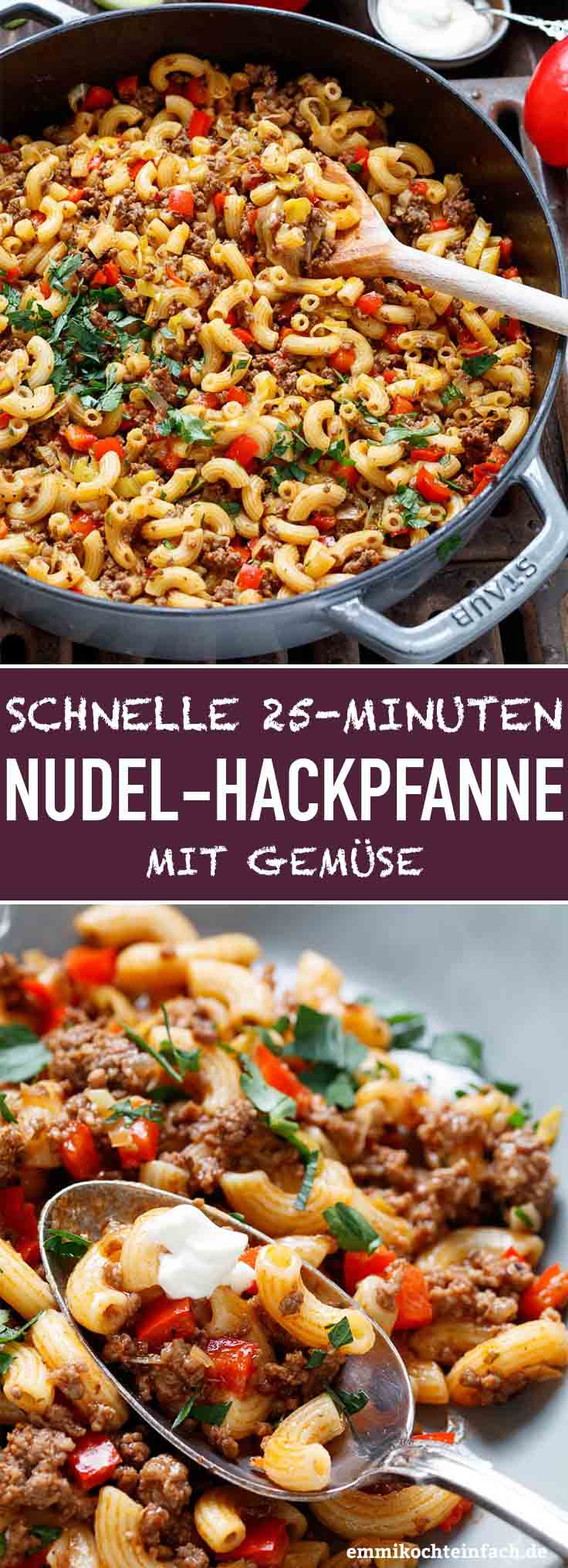 Schnelle Hackpfanne Mit Hörnchennudeln & Gemüse für Mittagsgerichte Schnell Und Einfach