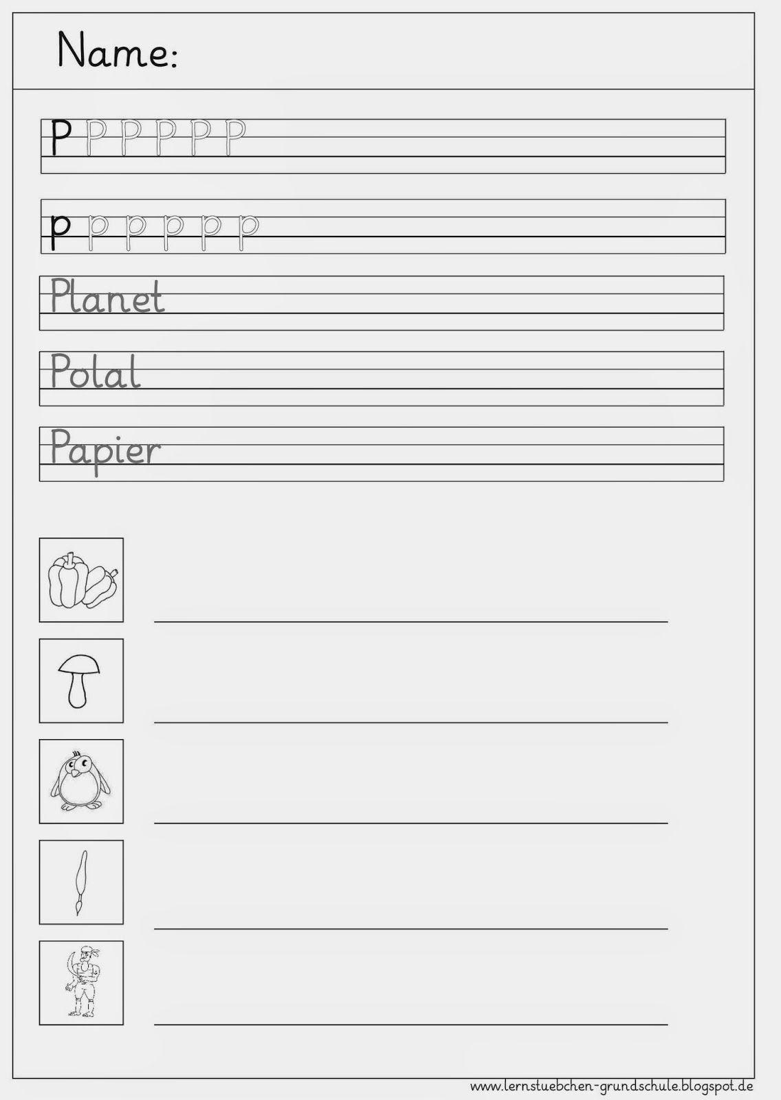 Schreibblätter Zum P - P (Mit Bildern)   Arbeitsblätter Zum in Schreibschrift P