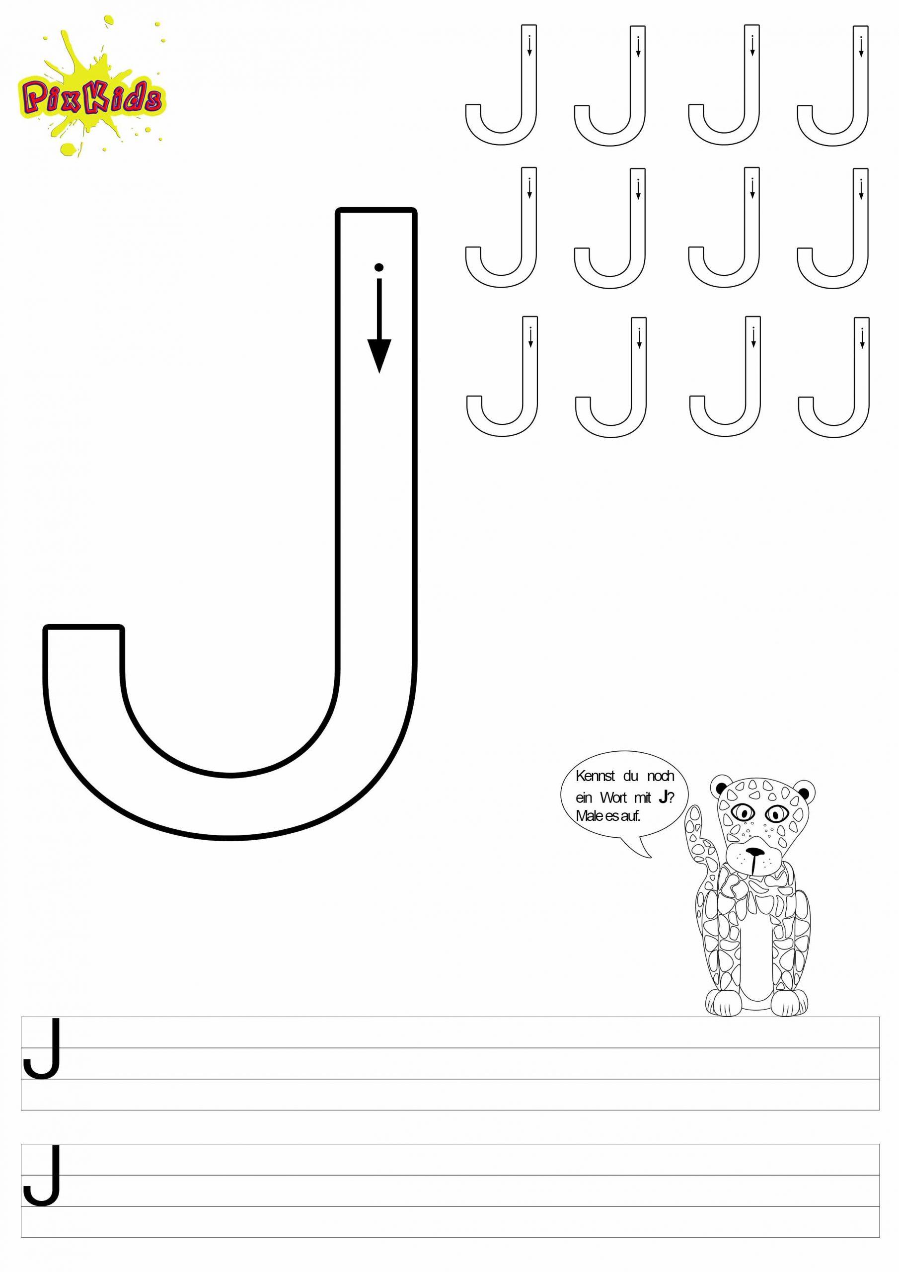 Schreiben Lernen Arbeitsblätter – Buchstabe J - Buchstaben innen Wörter Mi J