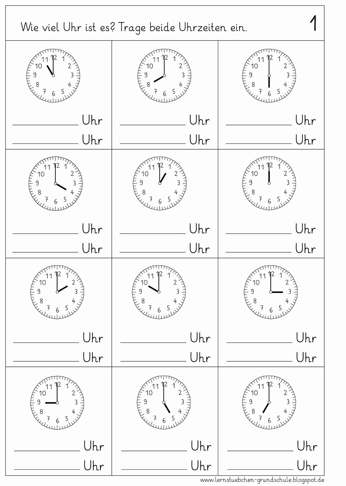 Schreiben Lernen Vorschule Neu Arbeitsblatt Uhrzeit Frisch in Uhr Lernen Arbeitsblätter Kostenlos
