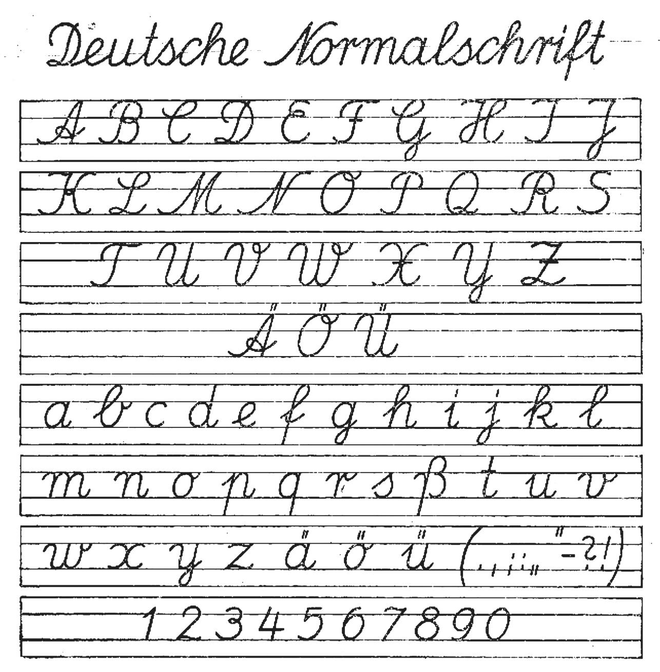 Schreibschrift für Alphabet Schreibschrift Grundschule