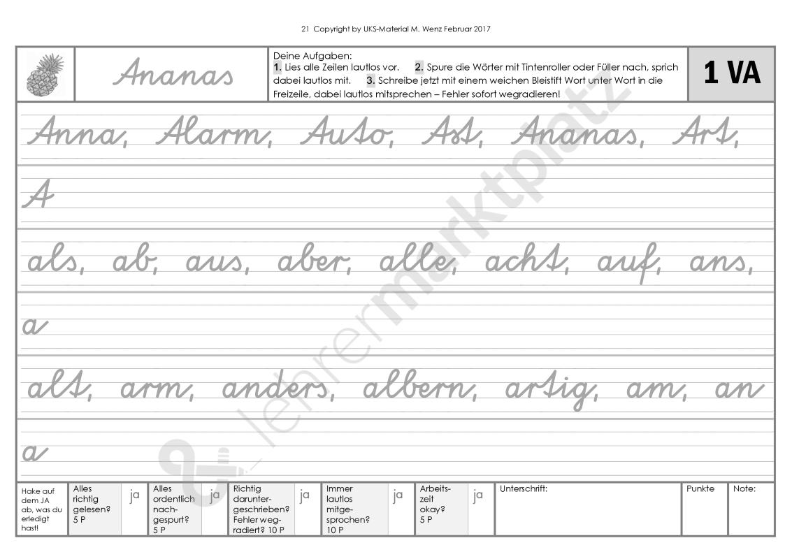 Schreibschrift-Wörtertraining Zum Ausprobieren Va, Sas, La bestimmt für Schreibschrift P