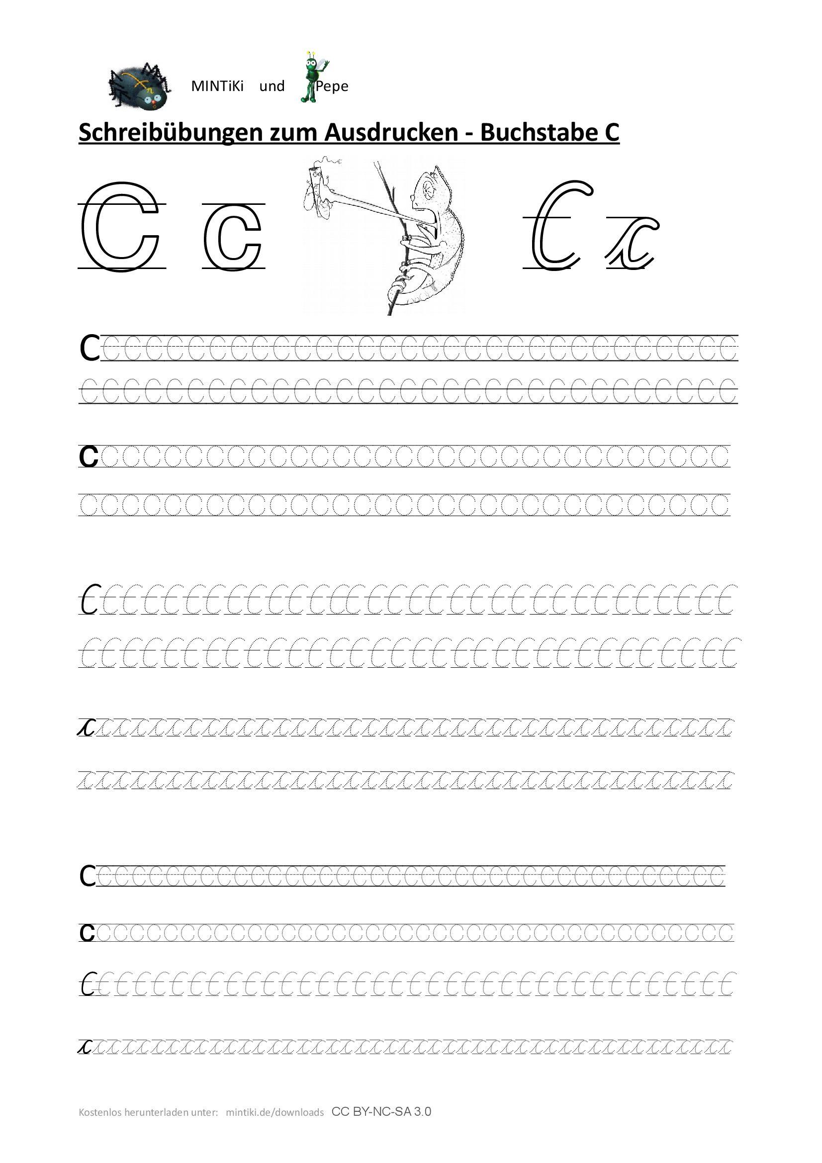 Schreibübung, Buchstabe C, Druckbuchstaben für Alphabet Schreibschrift Grundschule
