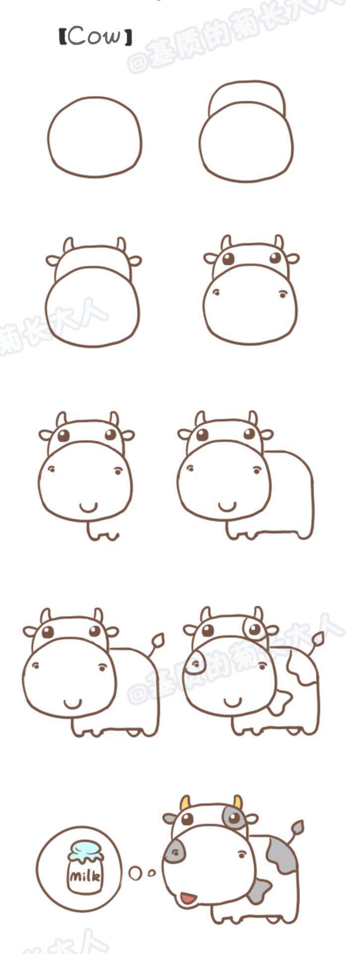 Schritt Für Schritt Zeichnen: Kuh Zeichnen Lernen / Schritt mit Kuh Malen