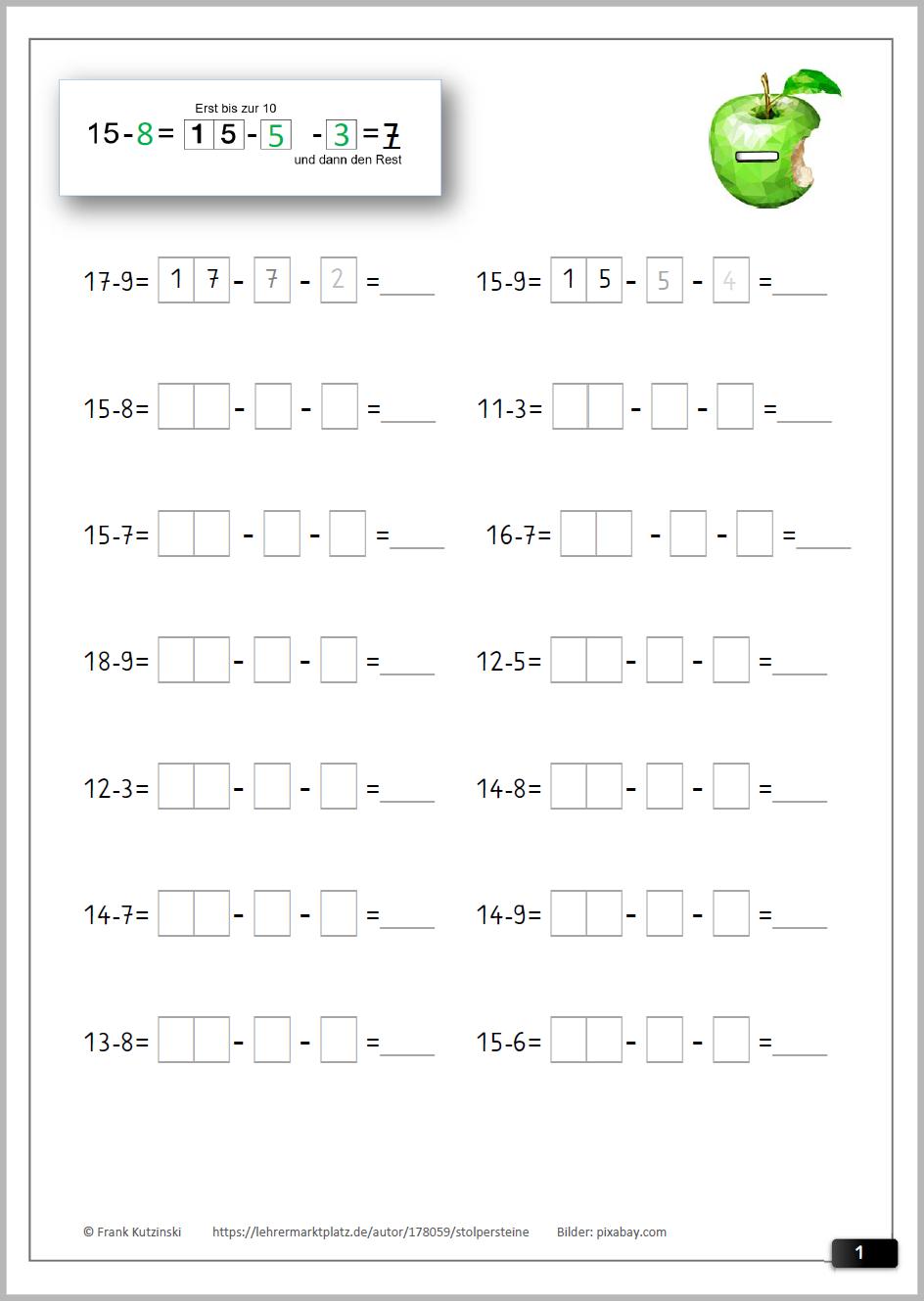 Schrittweise Zehnerunterschreitung (40 Arbeitsblätter für Mathematik 1 Klasse Hauptschule Arbeitsblätter