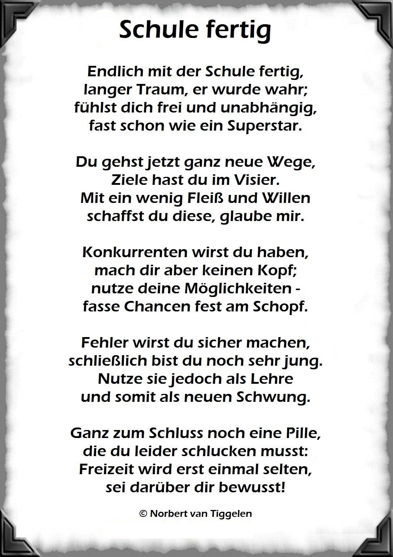 Schule Fertig, Abitur, Mittlere Reife, Van Tiggelen für Geburtstagsgedichte Lustige Witzige Gedichte Und Coole Sprüche