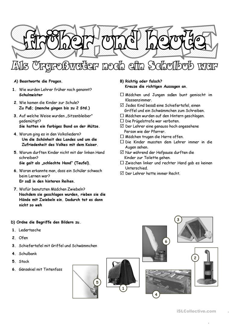 Schule Früher 2 _ Der Urgroßvater Erzählt - Deutsch Daf für Schule Früher Und Heute Arbeitsblätter
