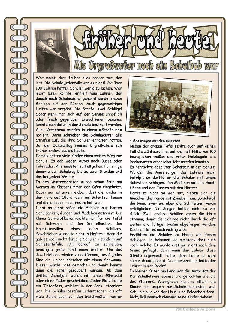 Schule Früher 2 _ Der Urgroßvater Erzählt - Deutsch Daf mit Schule Früher Und Heute Arbeitsblätter