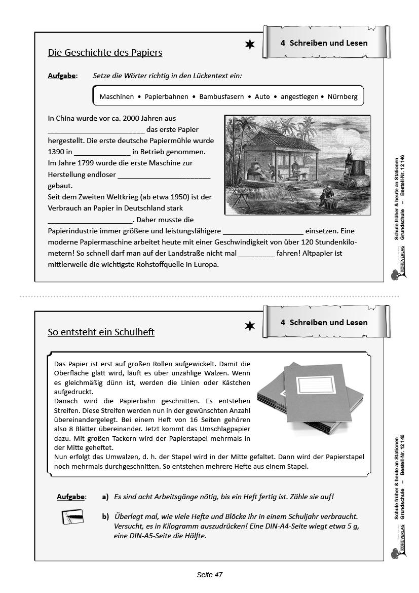 Schule Früher & Heute An Stationen - Selbstständiges Lernen in Schule Früher Und Heute Arbeitsblätter