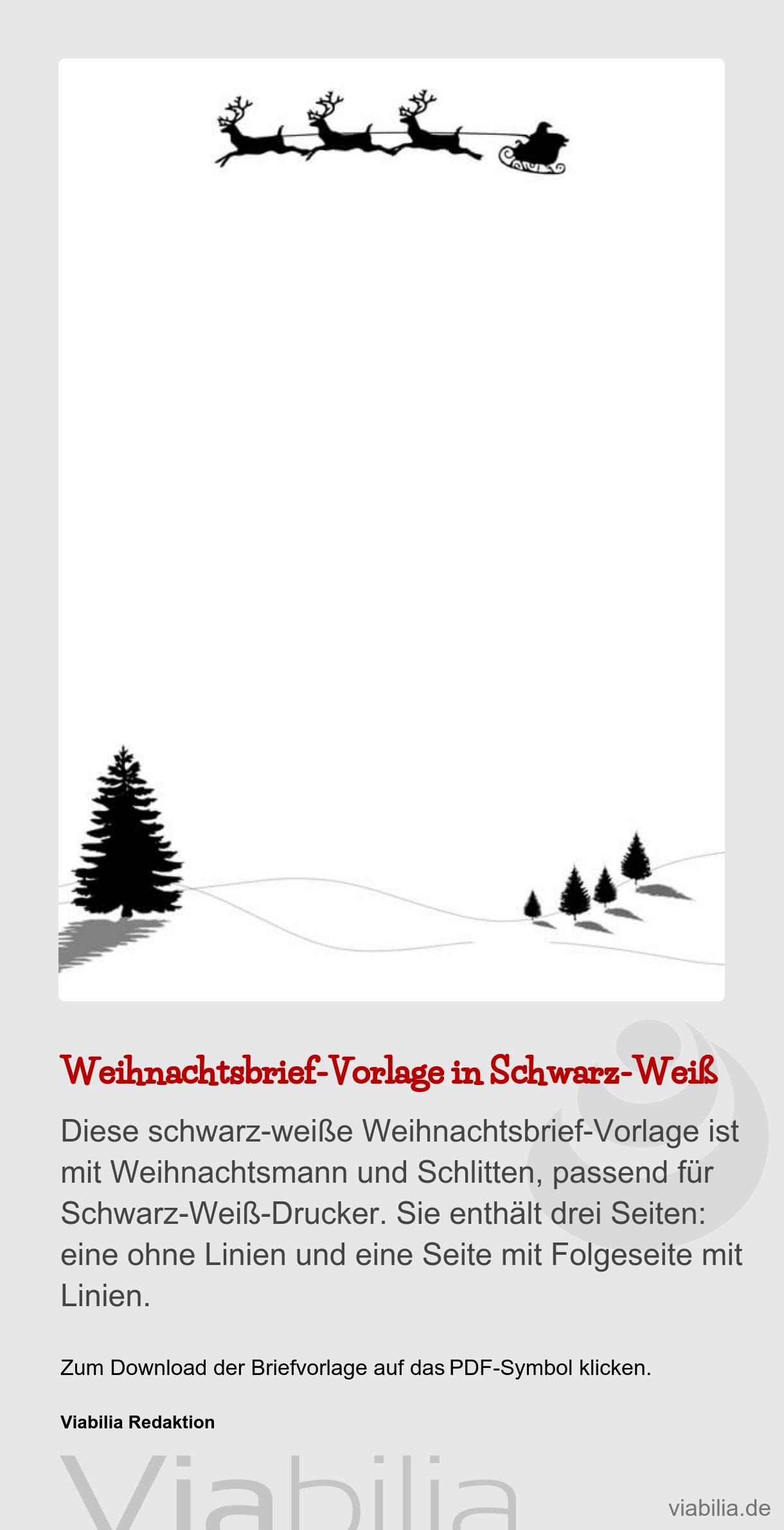 Schwarz-Weiß-Weihnachtsbrief - Weihnachtsgruß für Weihnachtsgrüße Zum Ausdrucken
