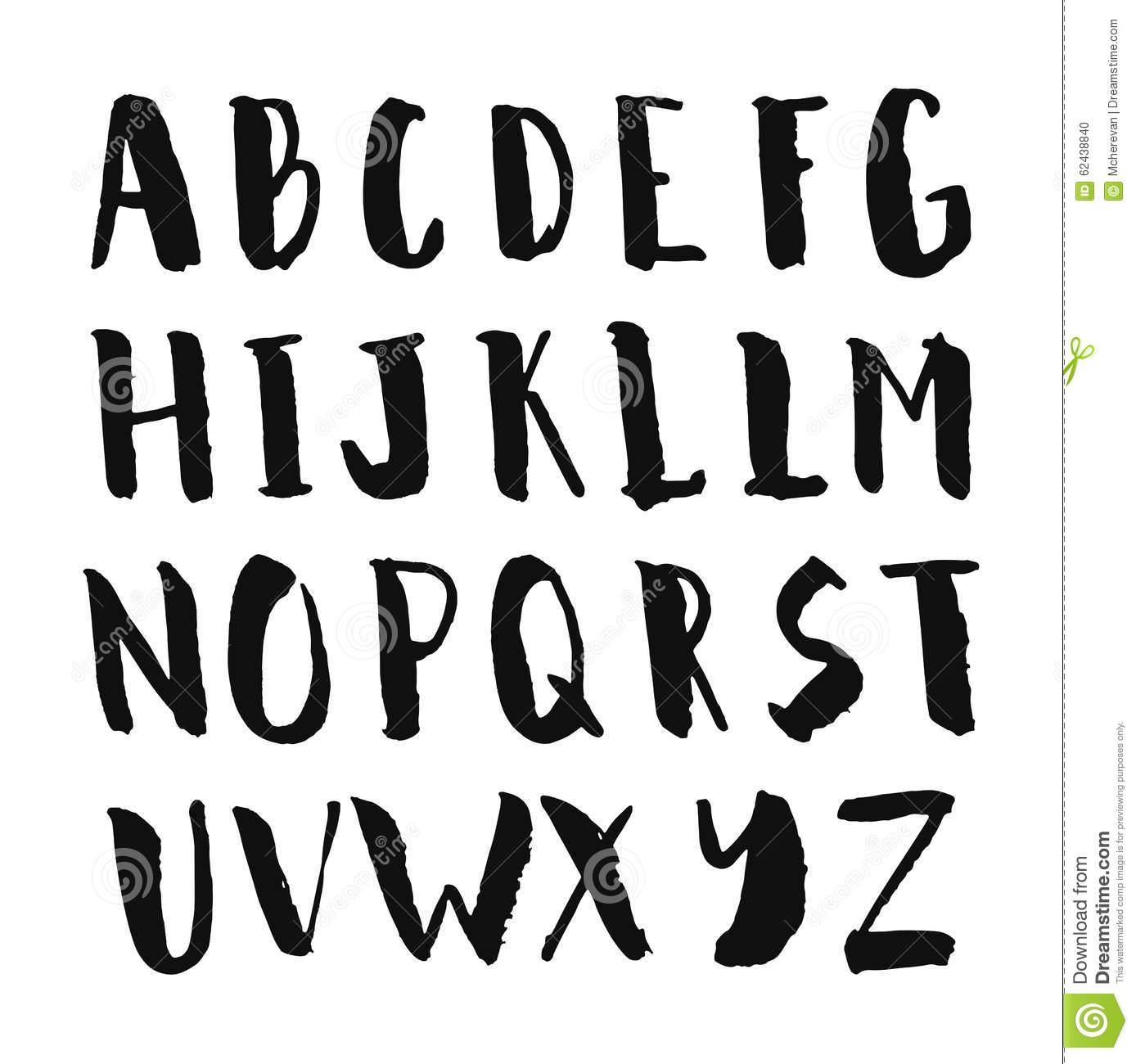 Schwarze Gezeichnetes Alphabet Der Tinte Hand ganzes Alphabet Großbuchstaben
