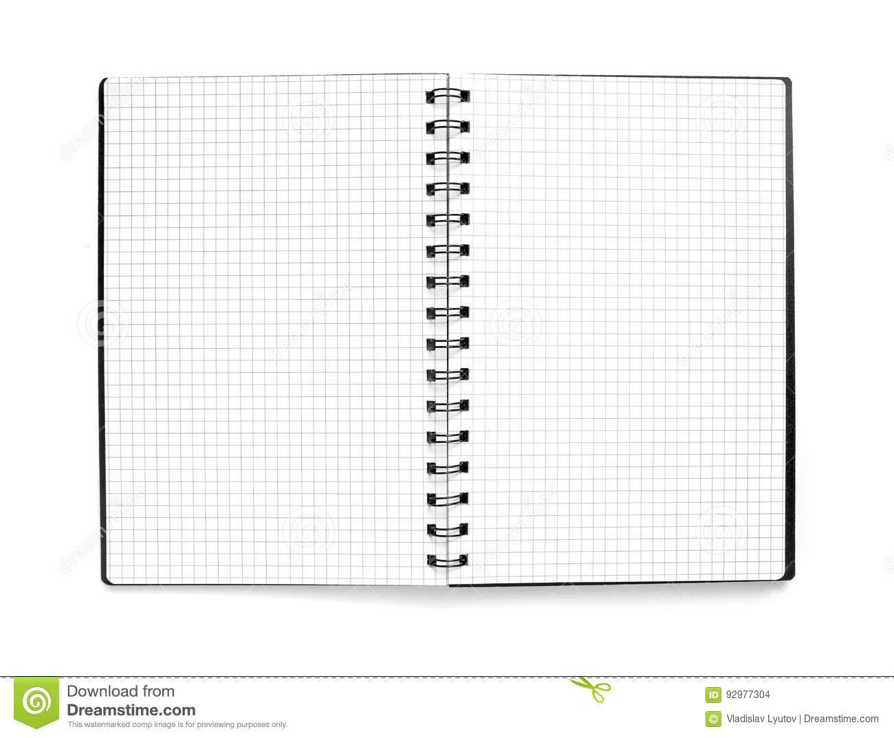 Schwarzer Notizblock Mit Karierte Blätter Auf Weißem bei Karierte Blätter