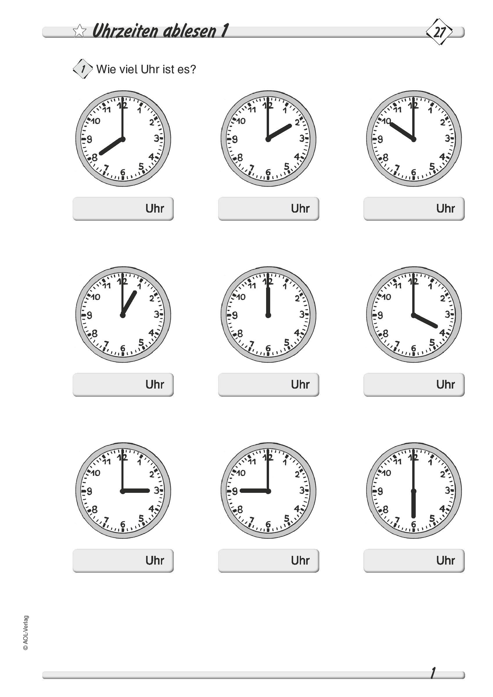 Schwerpunkte mit Uhrzeit Lernen 2 Klasse