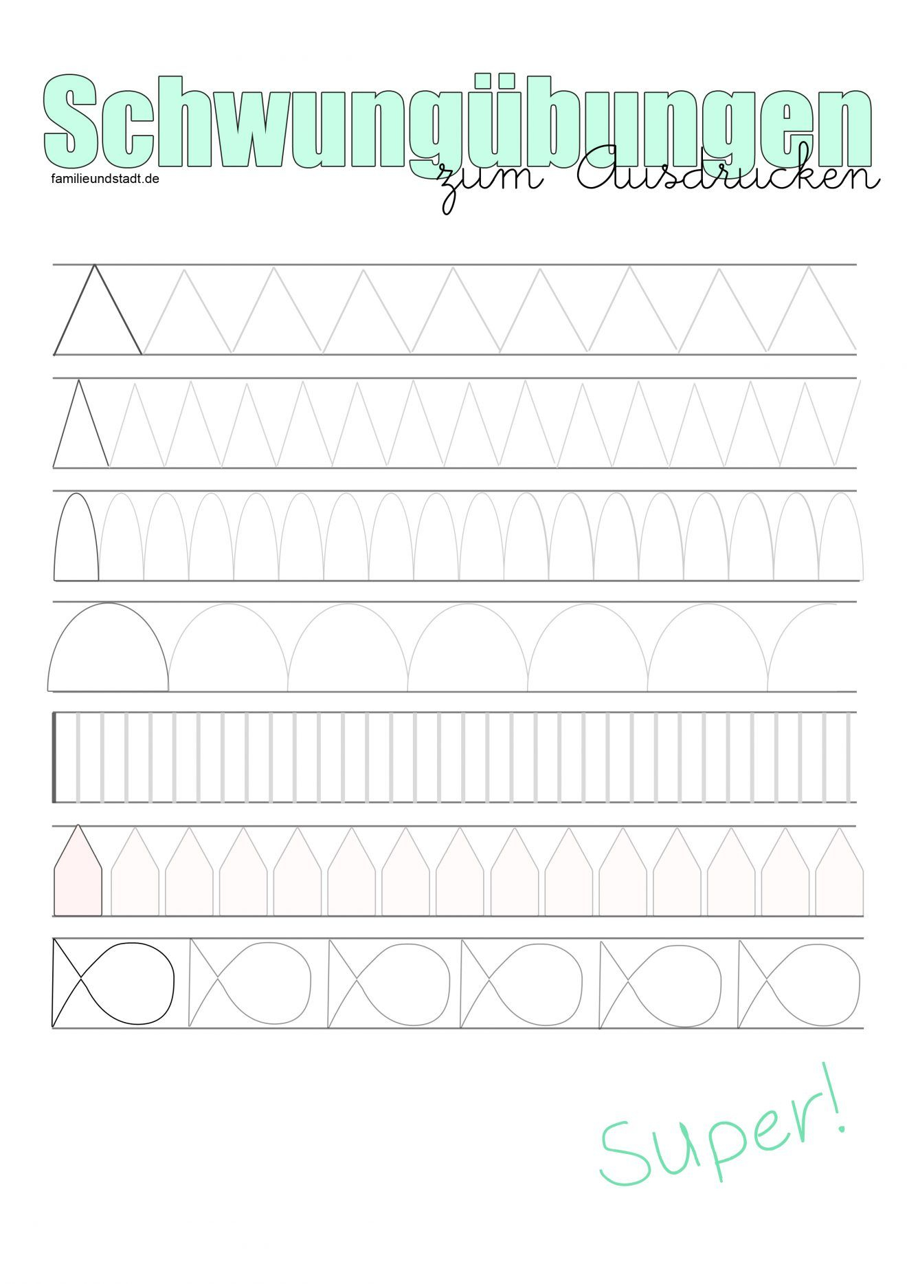 Schwungübungen Für Kinder Zum Ausdrucken   Schwungübungen mit Übungsblätter Kindergarten Zum Ausdrucken