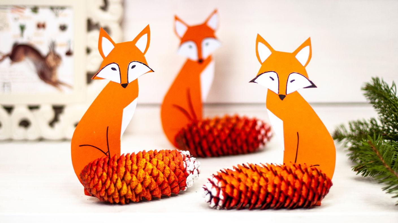 Selbermachen: Tannenzapfen-Deko Mit Fuchsmotiv   Kreativ ganzes Bastelvorlage Fuchs