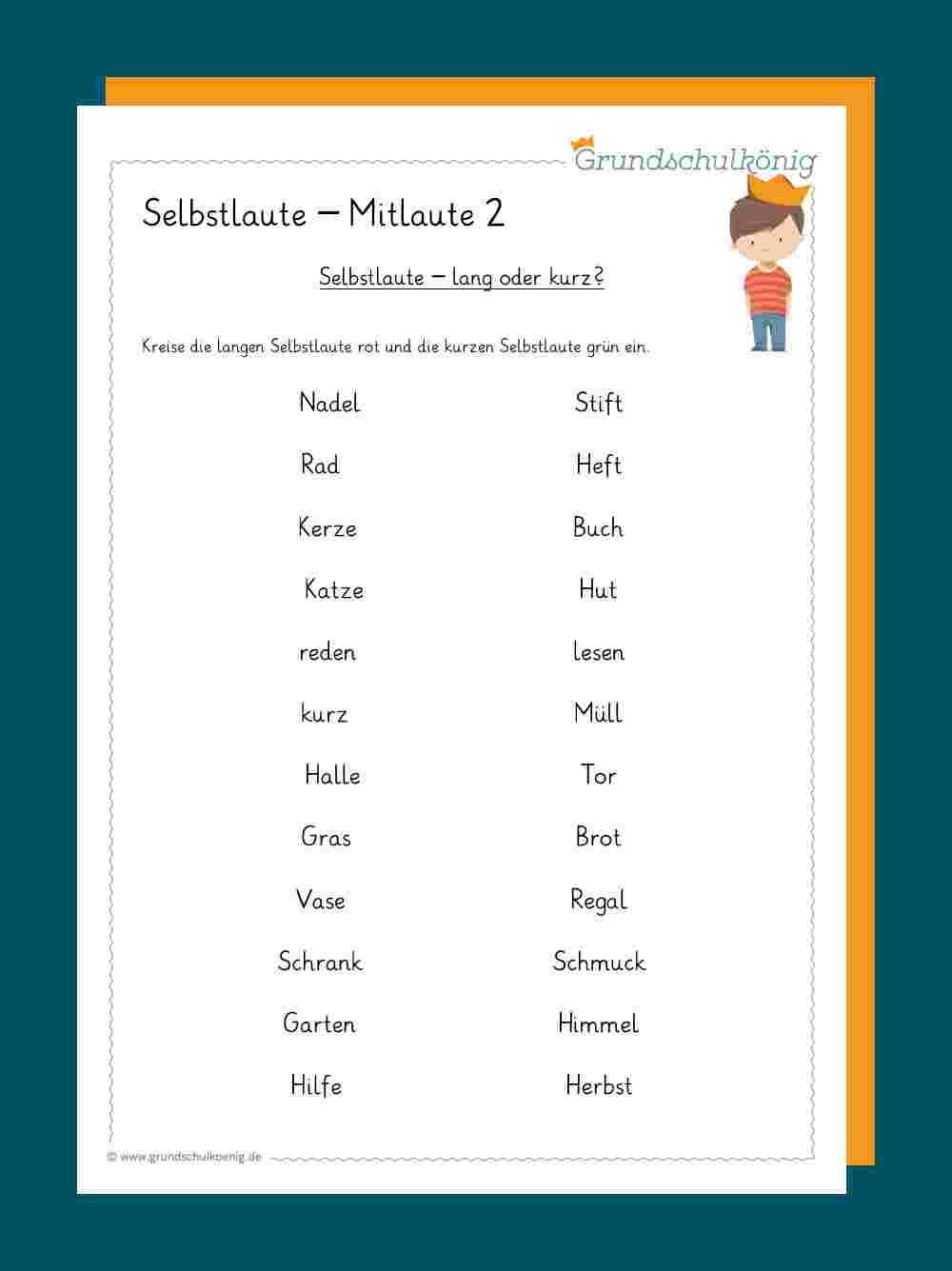 Selbstlaute / Mitlaute bestimmt für Wörter Die Mit Ü Beginnen