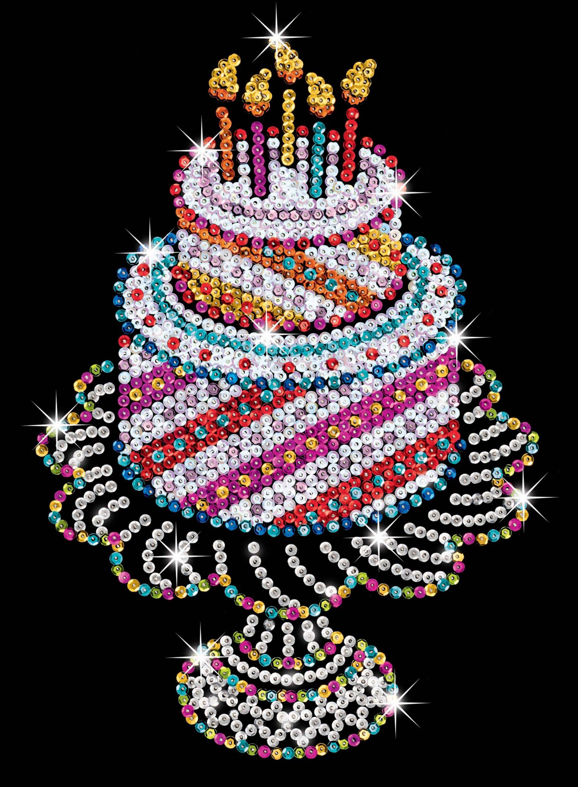 Sequin-Art Paillettenbild Geburtstagstorte über Bilder Geburtstagstorte