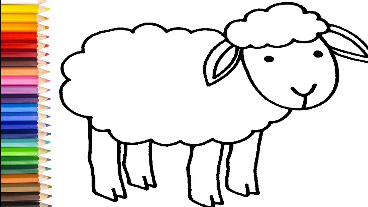 Sheep Coloring Pages   How To Drap Happy Sheep   Sheep Drawing Tutorial For  Kids innen Schaf Malen