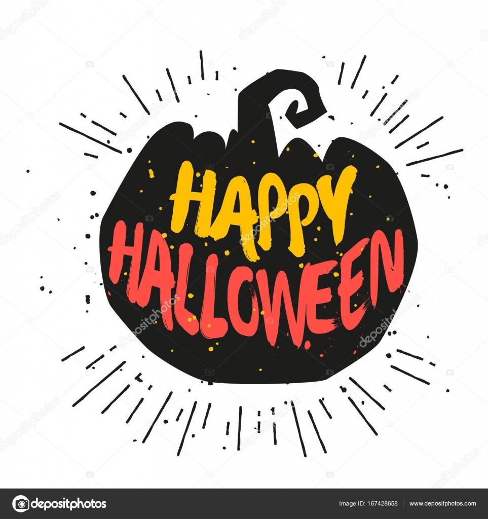 Silhouette Eines Kürbisses Mit Schriftzug Happy Halloween bei Happy Halloween Schriftzug