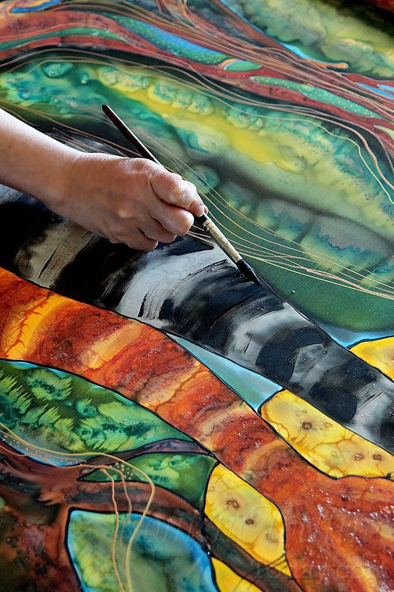 Silk Painting- Moon Rhapsody   Seidenmalerei, Malerei, Seide bestimmt für Seidenmalerei Motive