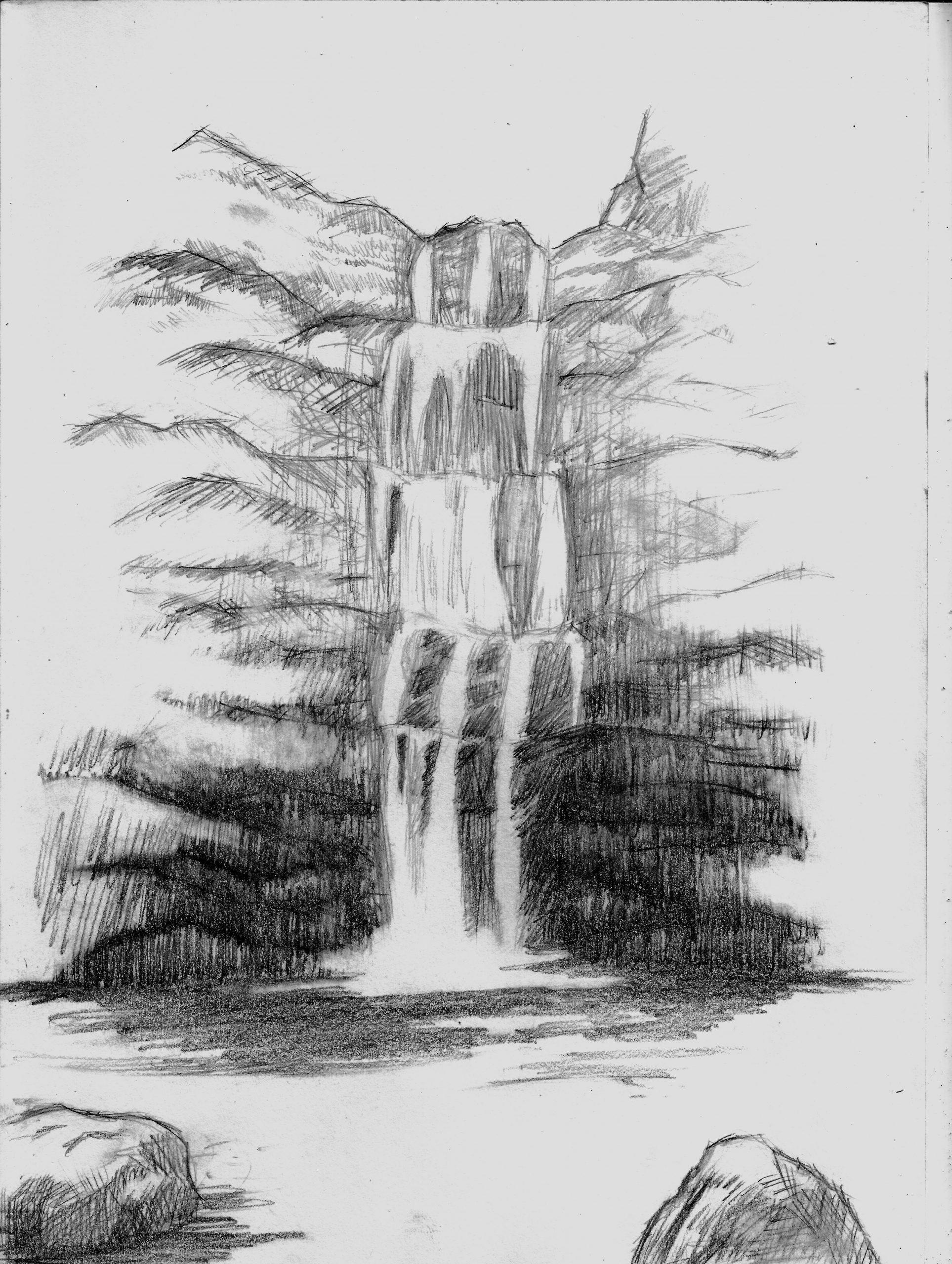 Sketch, Waterfall, Draw (Mit Bildern) | Wasserfall Zeichnung mit Einfache Landschaften Zeichnen