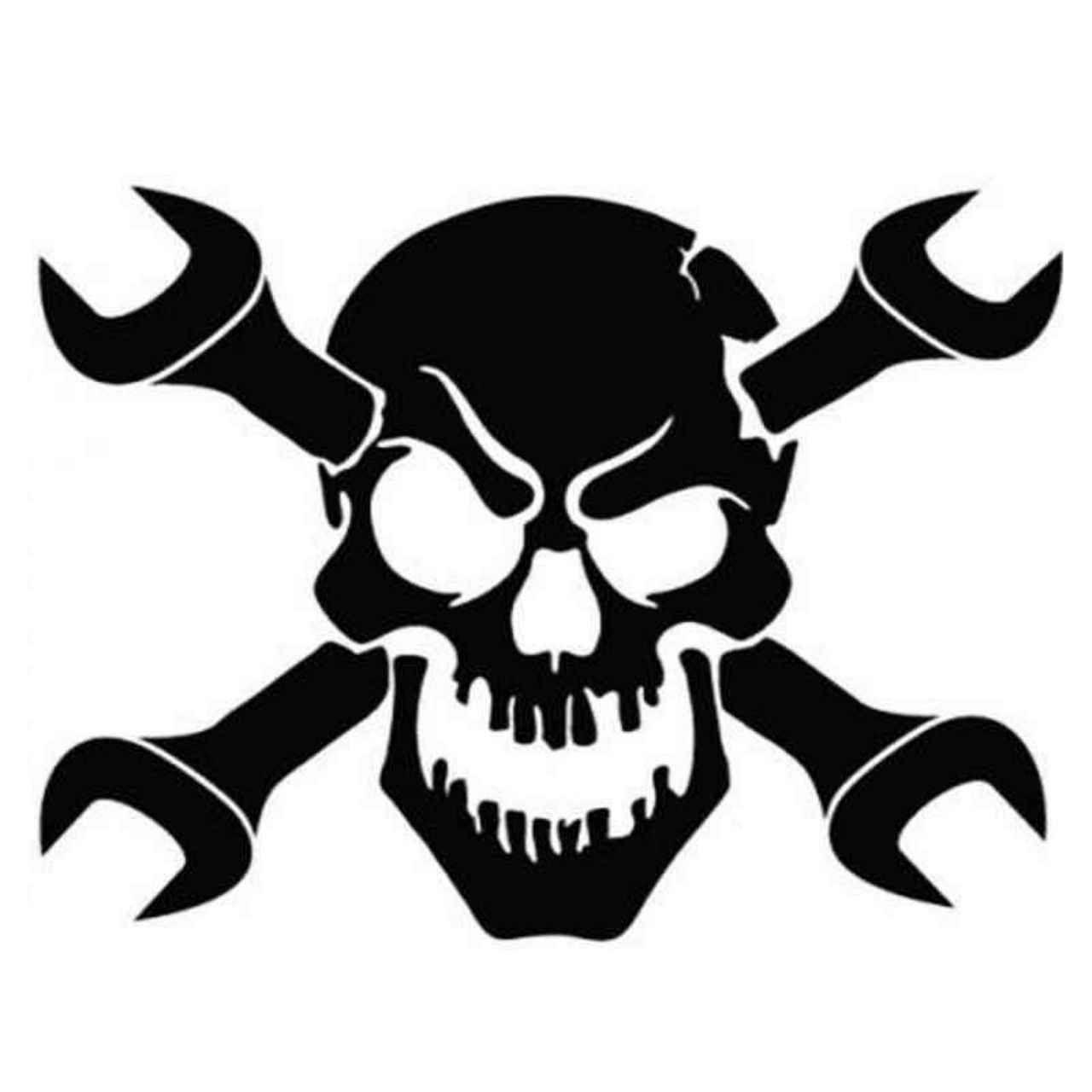 Skull Wrench 48 Decal Sticker | Schädel Schablone bei Totenkopf Vorlage